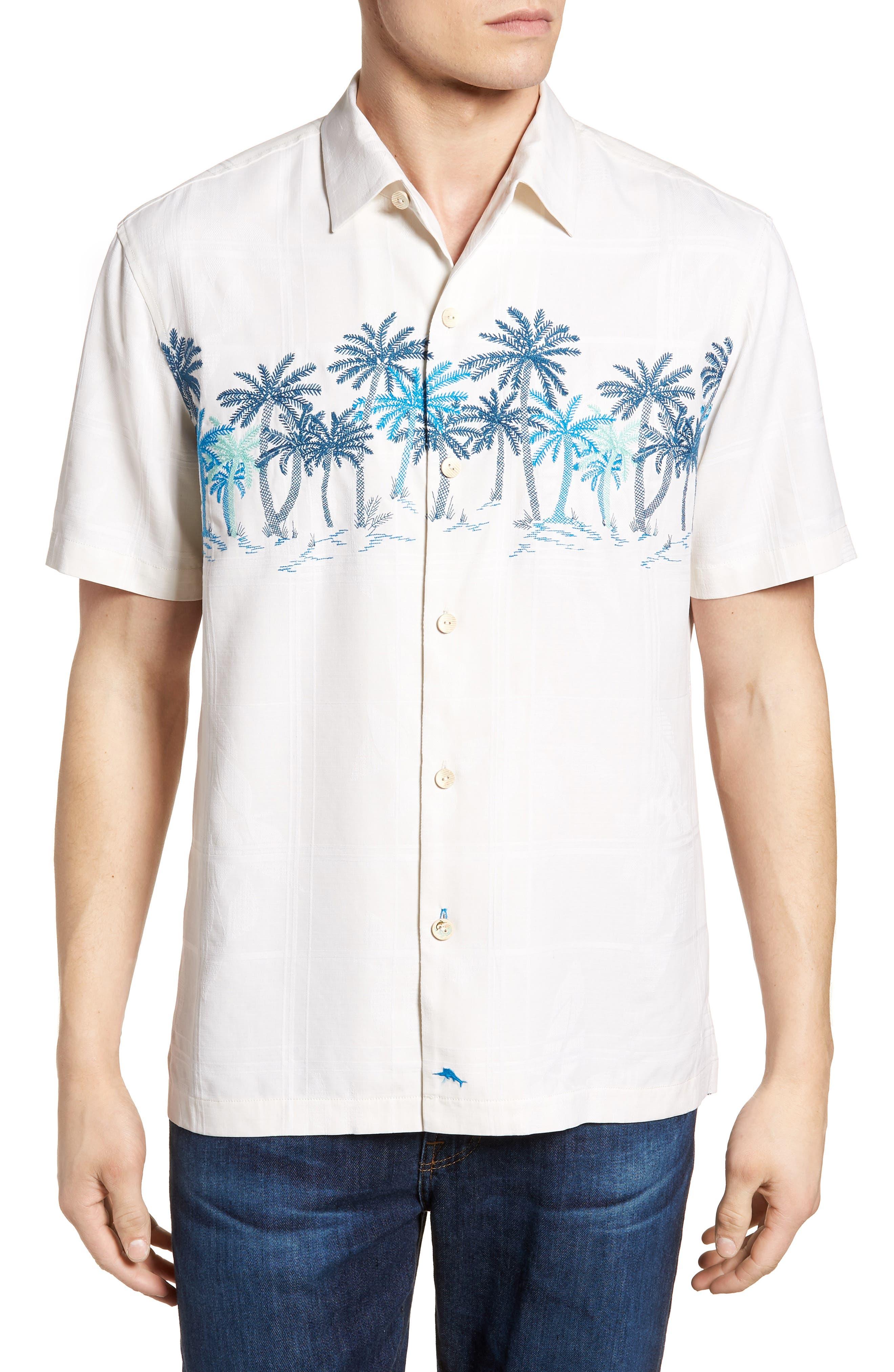 Puerto Vallarta Palms Silk Camp Shirt,                             Main thumbnail 1, color,                             Continental