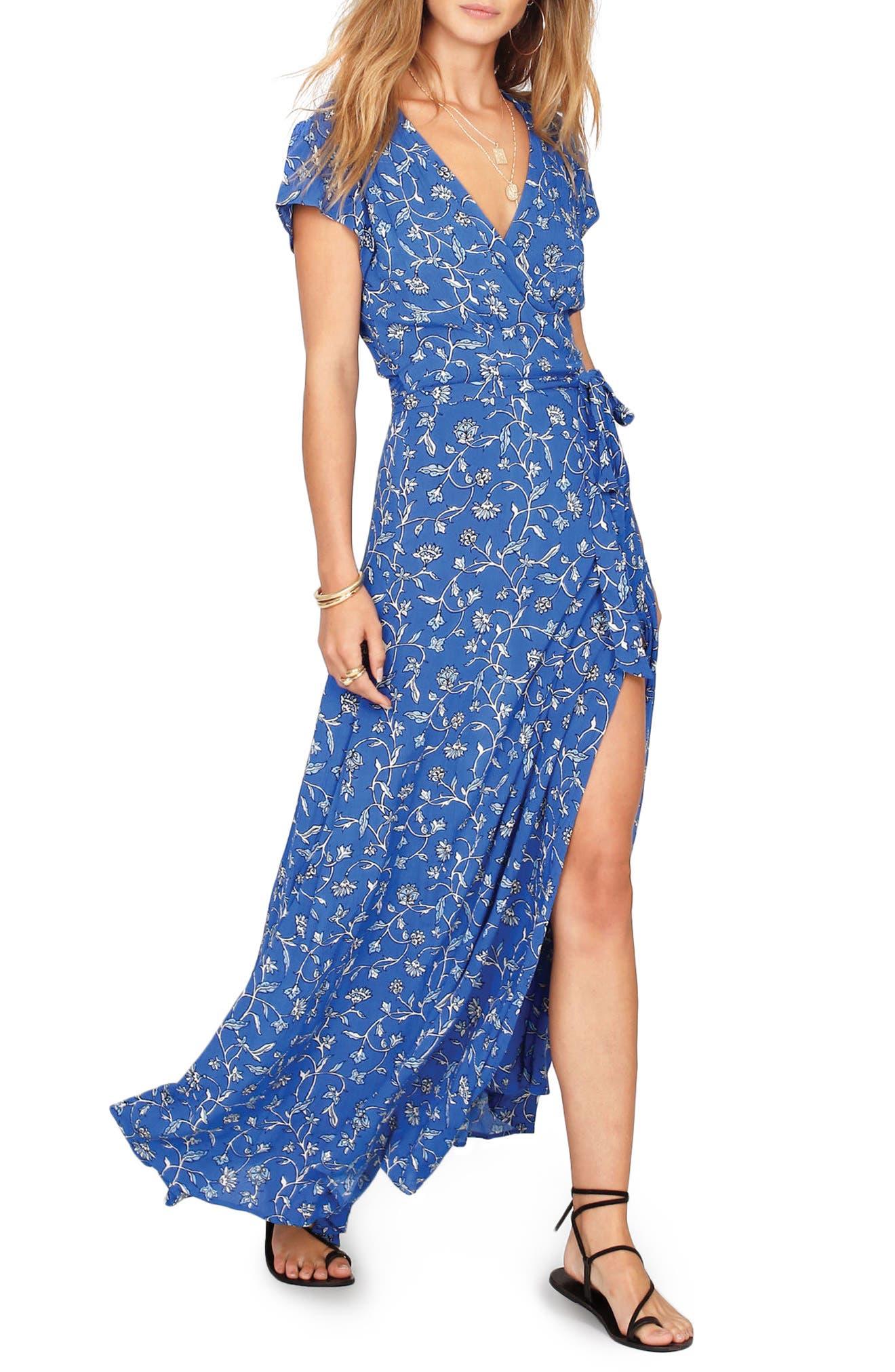 Summer Safari Wrap Dress,                         Main,                         color, Blue Coast
