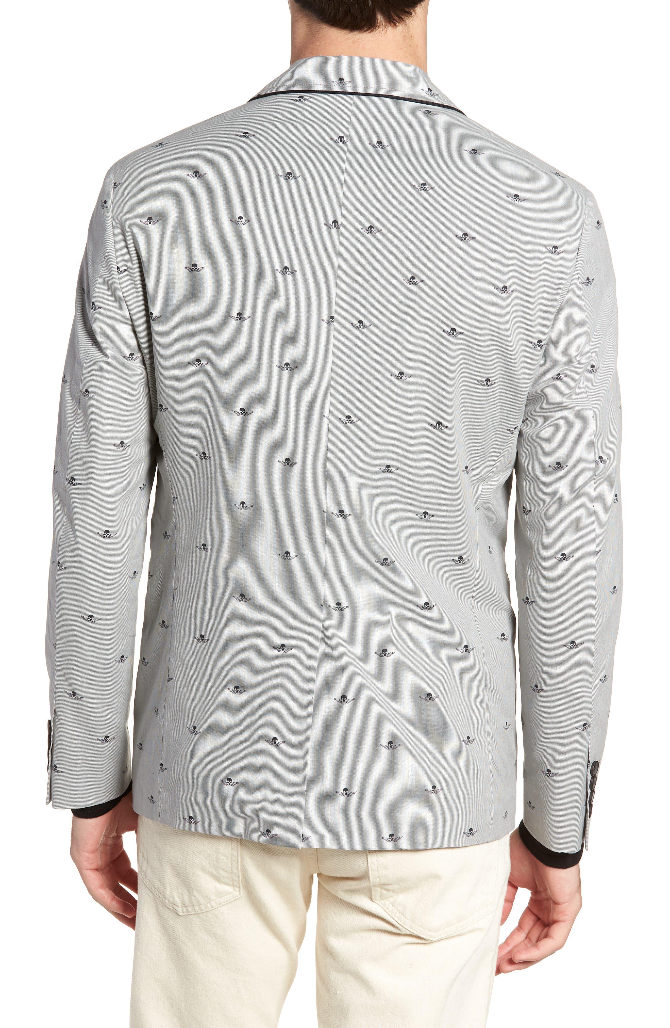Slim Fit Print Cotton Blazer,                             Alternate thumbnail 2, color,                             Mercury Grey