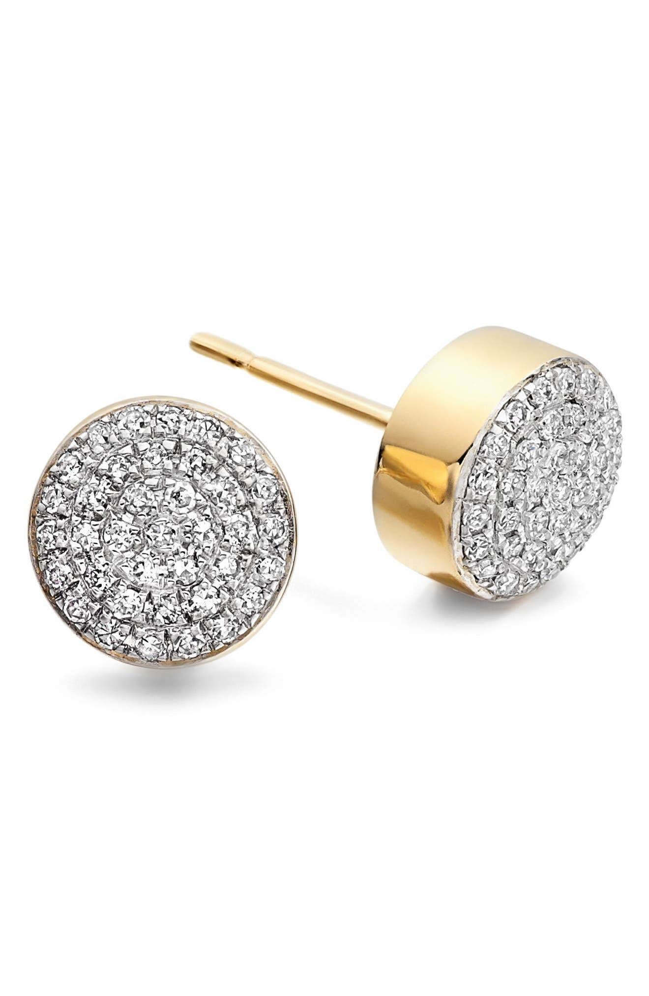 Alternate Image 1 Selected - Monica Vinader 'Ava' Diamond Button Stud Earrings