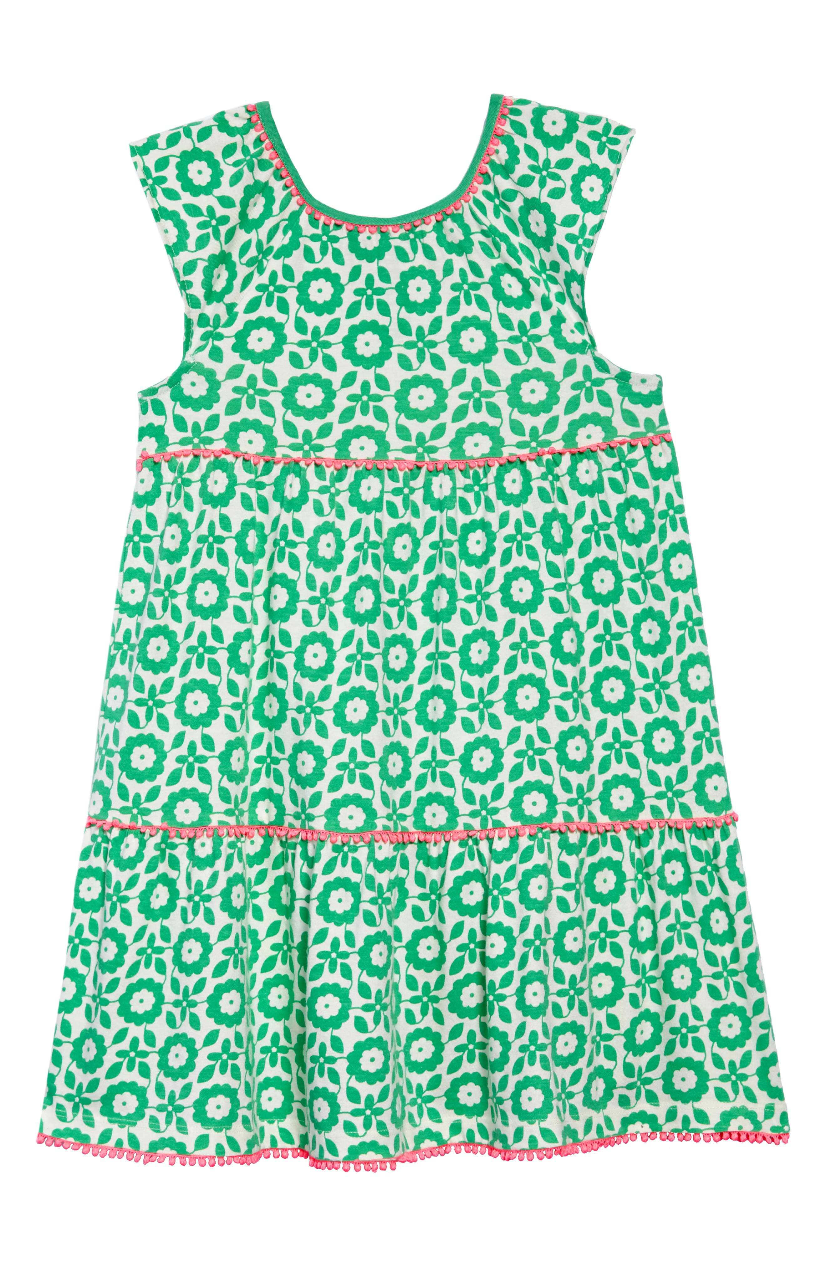 Tiered Jersey Frill Dress,                         Main,                         color, Peppermint Green Retro Tile