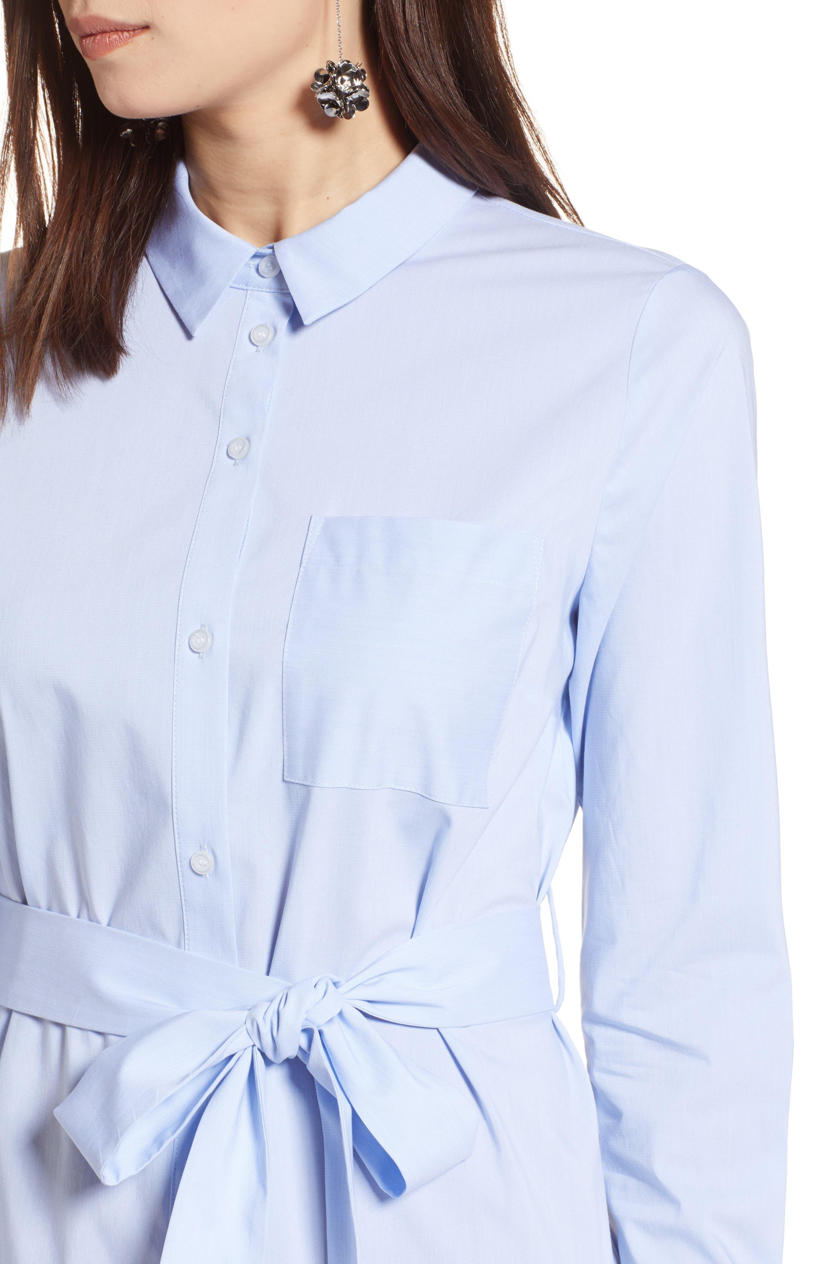 Stretch Cotton Poplin Shirtdress,                             Alternate thumbnail 4, color,                             Blue End Ptn