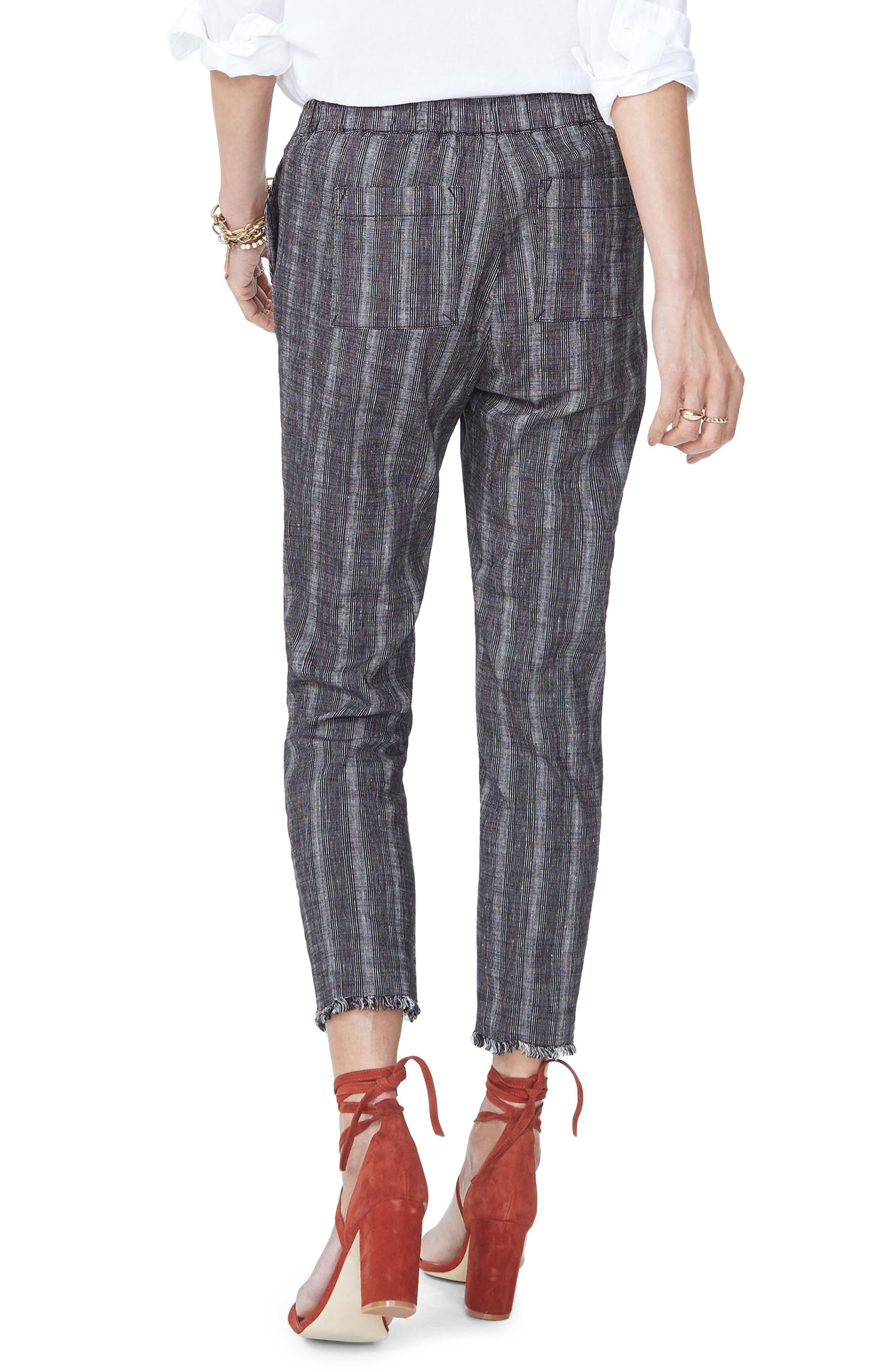 Hidden Drawstring Stripe Crop Pants,                             Alternate thumbnail 2, color,                             Black/ Natural