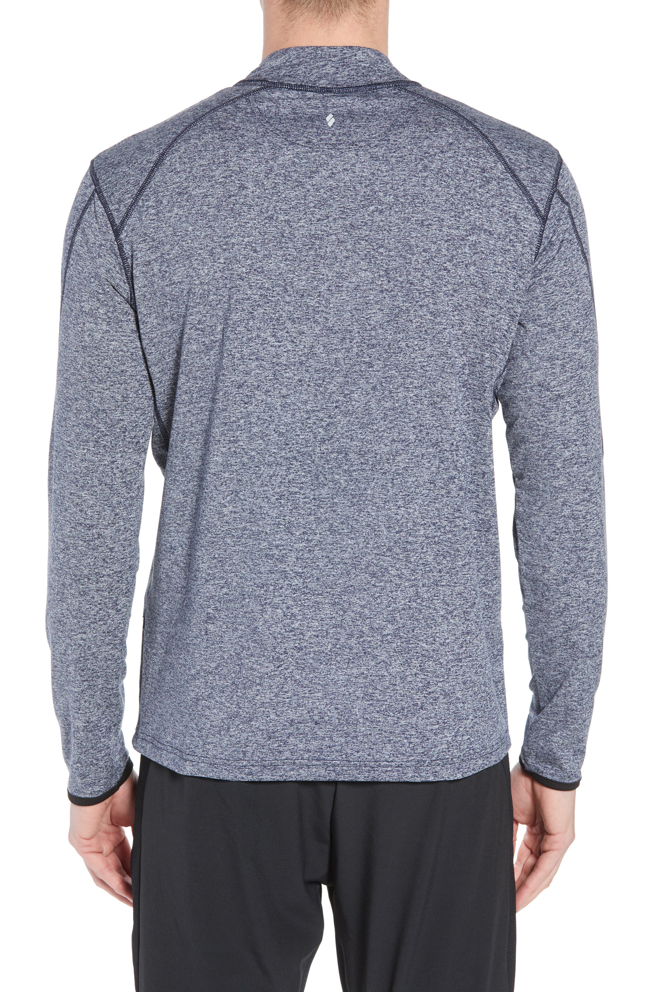 'Elevate' Moisture Wicking Stretch Quarter Zip Pullover,                             Alternate thumbnail 2, color,                             Heather Navy/ Navy