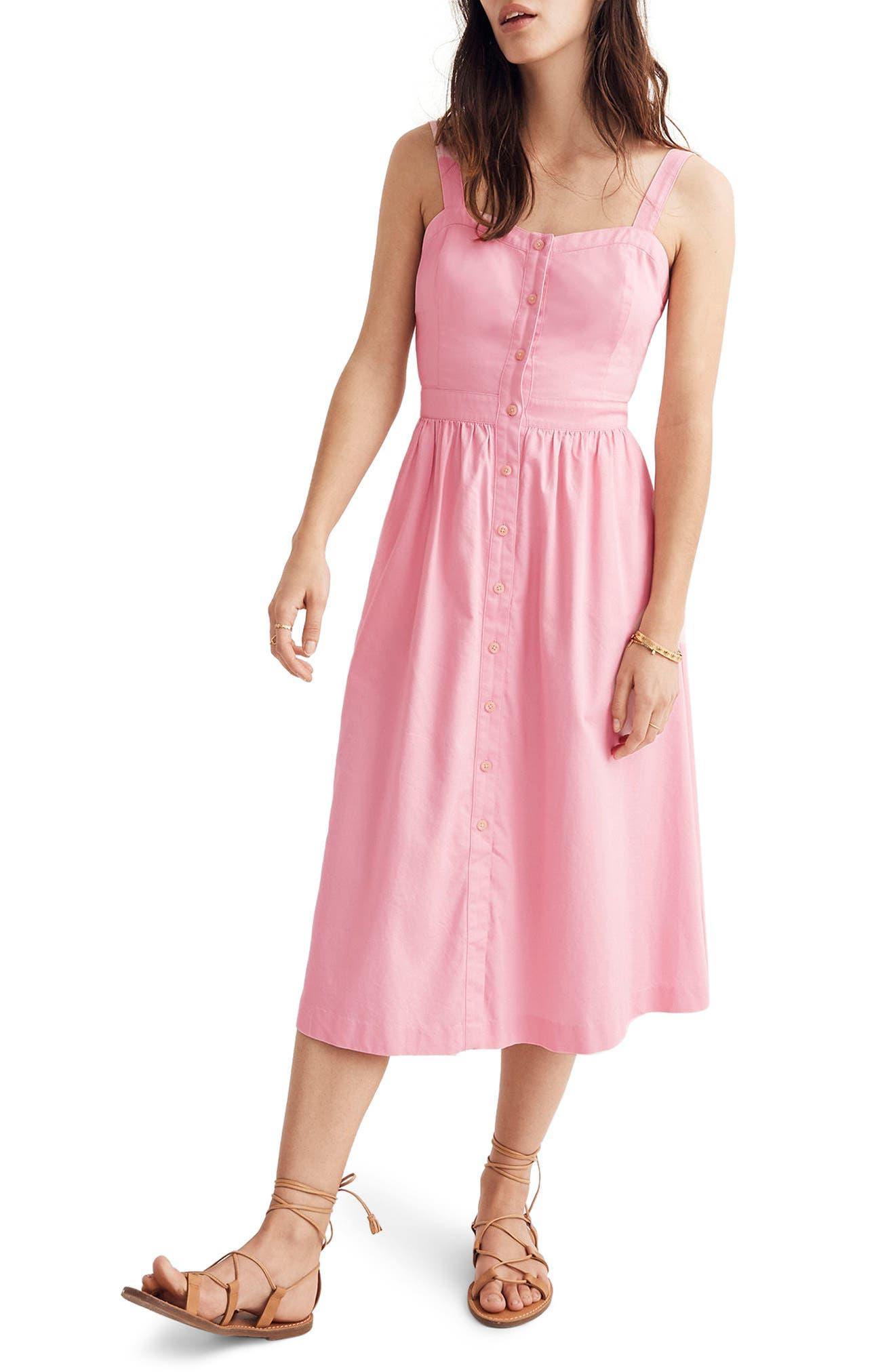Main Image - Madewell Pink Fleur Bow Back Dress