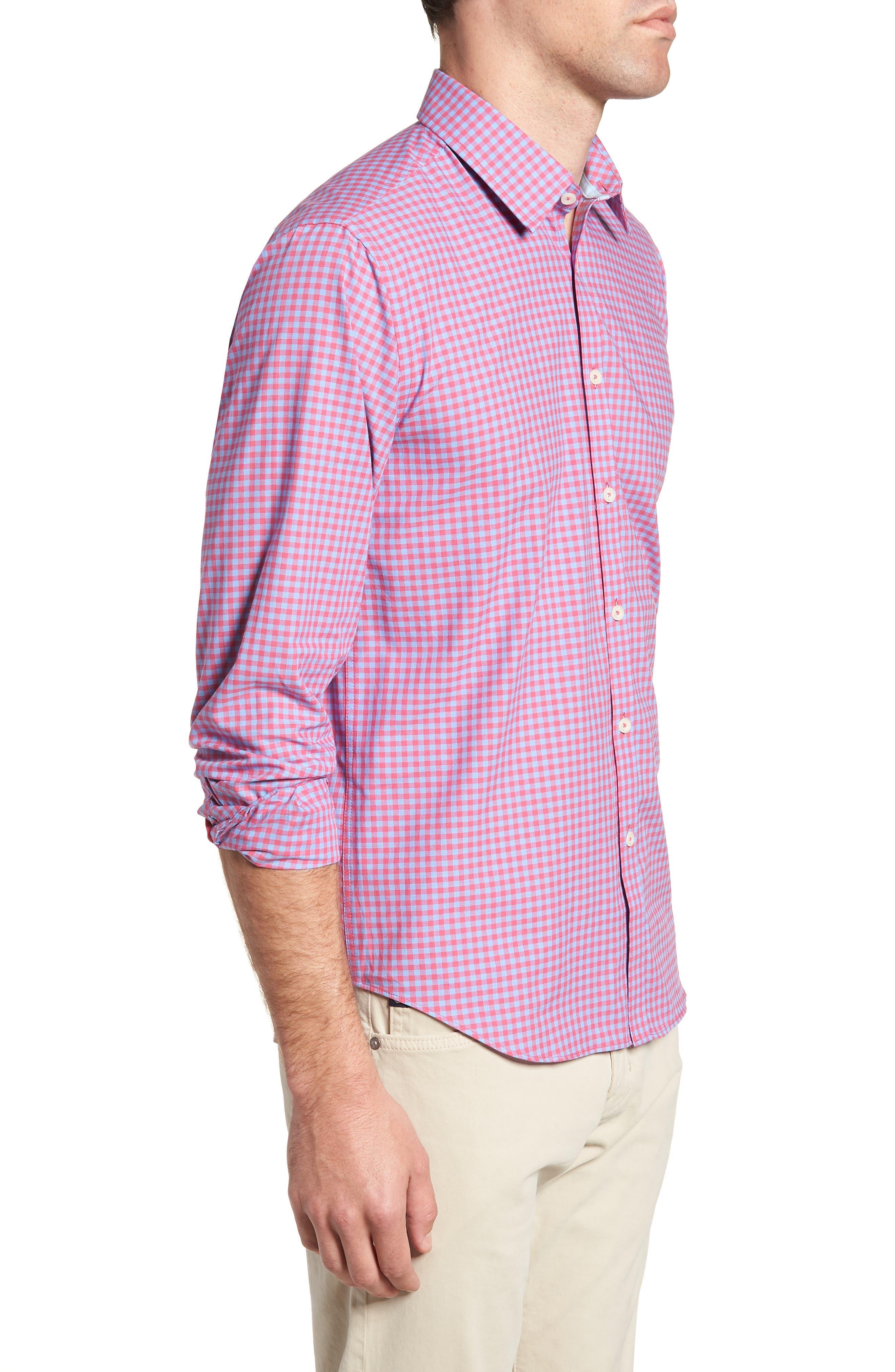 Slim Fit Gingham Sport Shirt,                             Alternate thumbnail 4, color,                             Light Red