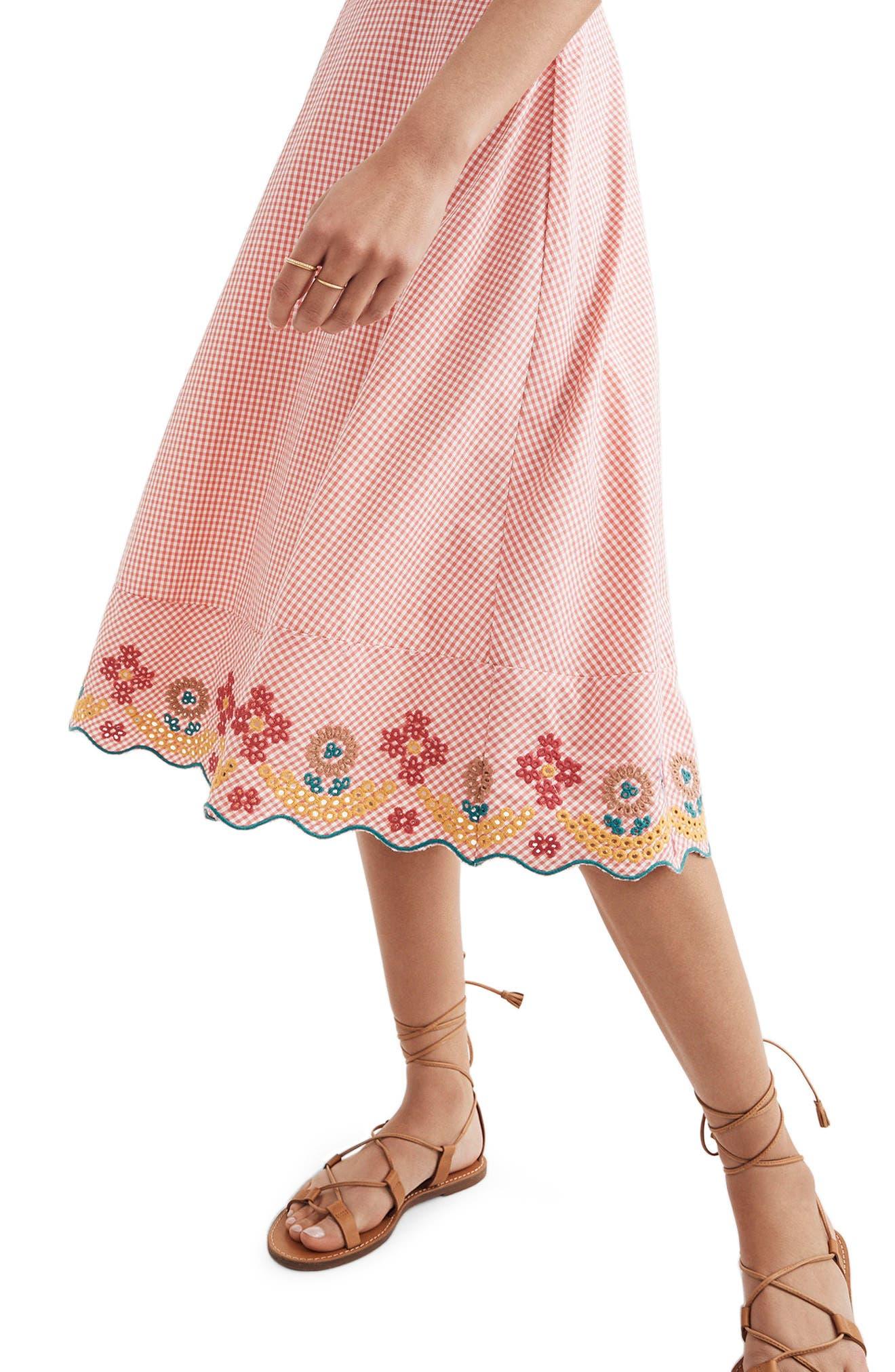 Embroidered Gingham Circle Skirt,                             Alternate thumbnail 3, color,                             Gingham Sunset