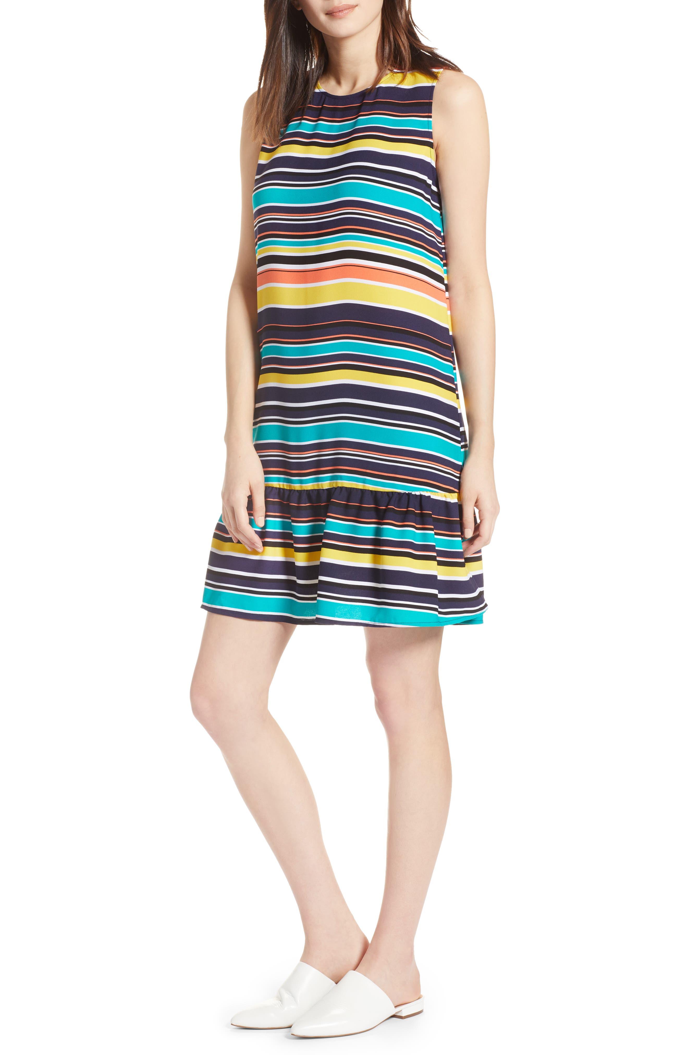Alternate Image 1 Selected - Halogen® Ruffle Hem Shift Dress (Regular & Petite)