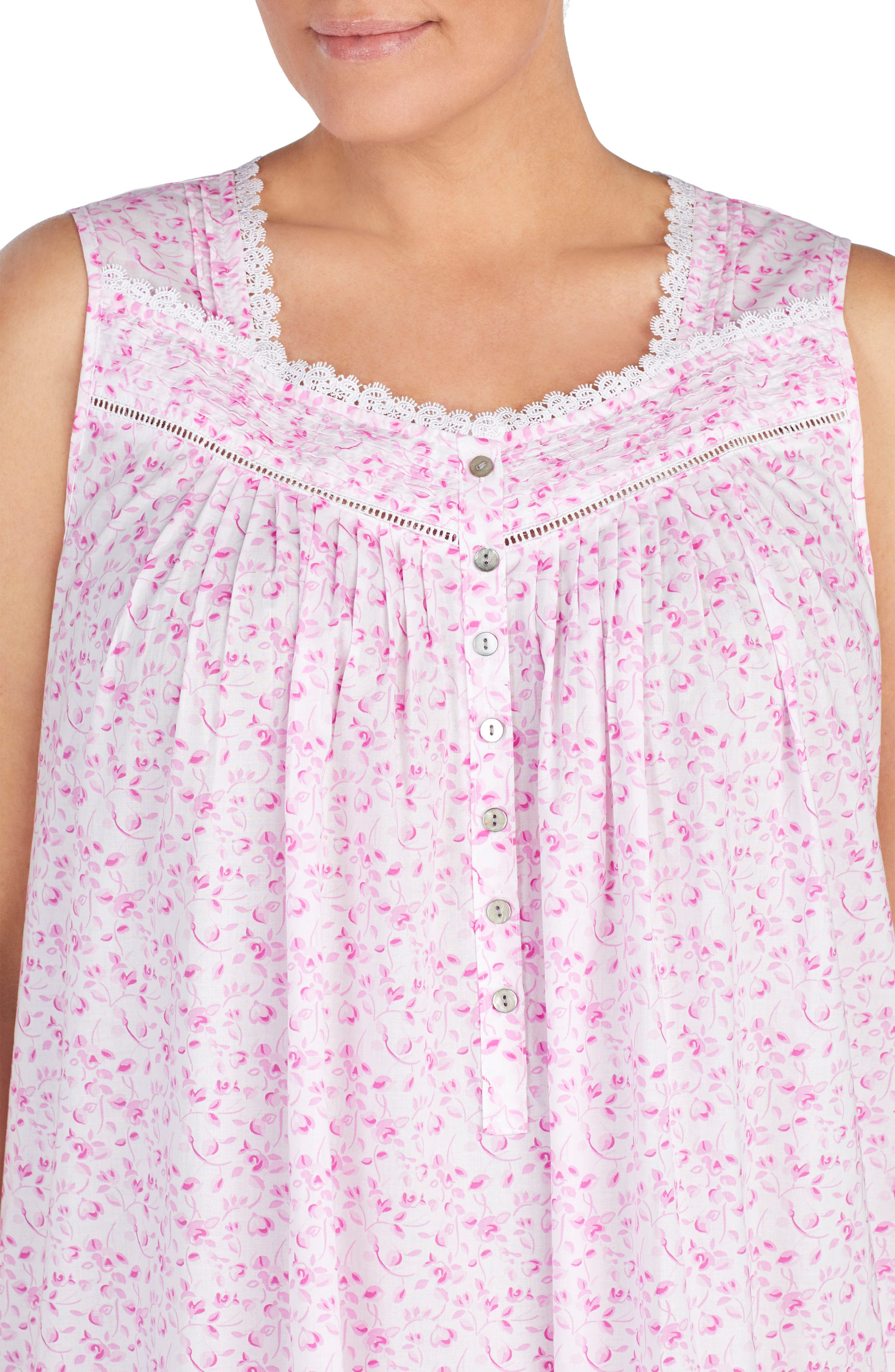 Cotton Lawn Ballet Nightgown,                             Alternate thumbnail 3, color,                             Rose Floral