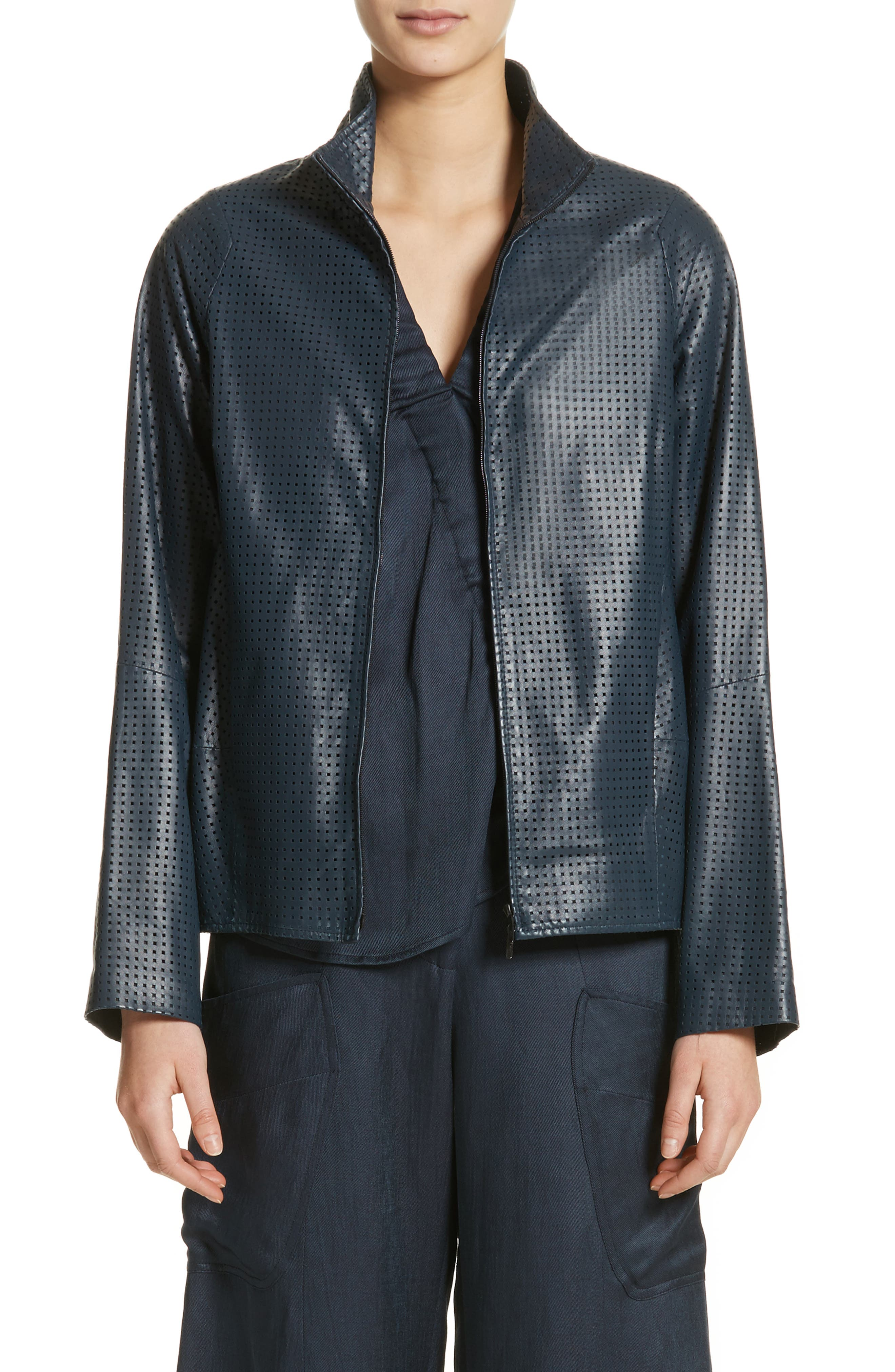 Perforated Nappa Leather Jacket,                         Main,                         color, Ink Jet