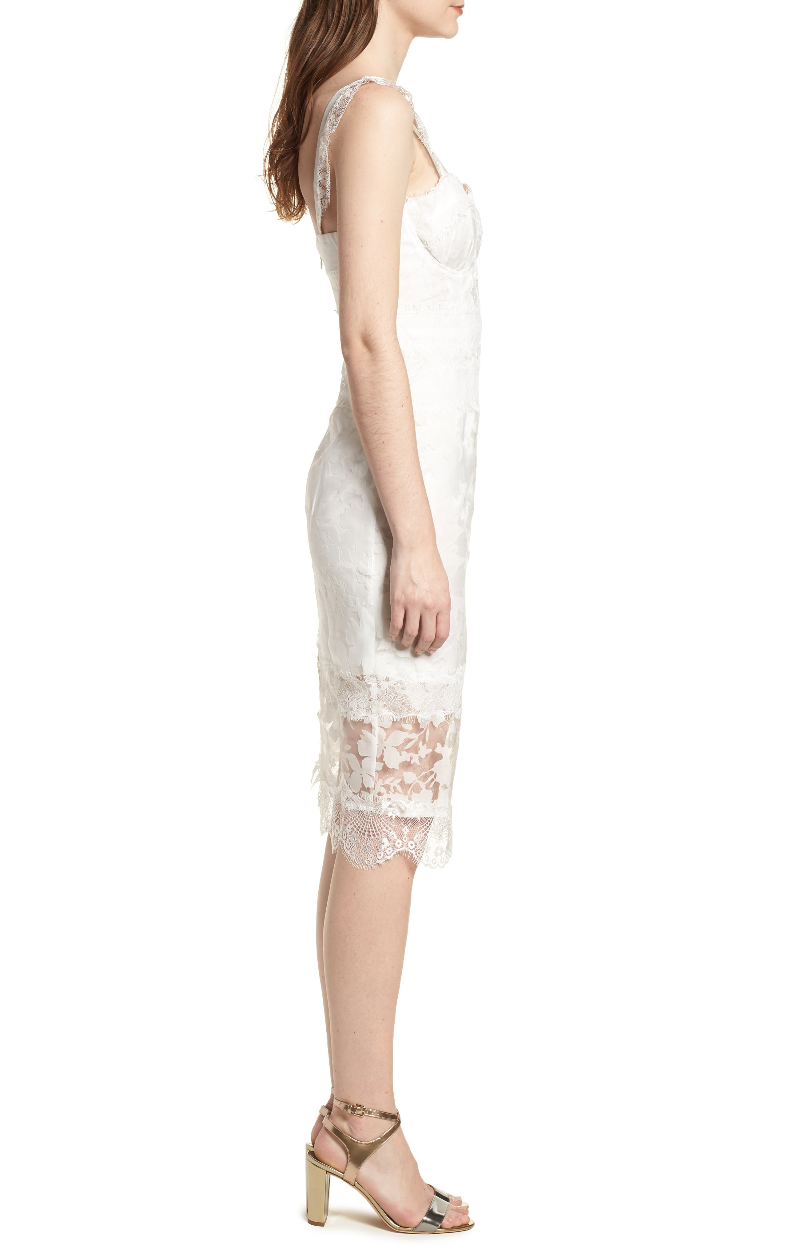 Organza Lace Sheath Dress,                             Alternate thumbnail 3, color,                             Ivory