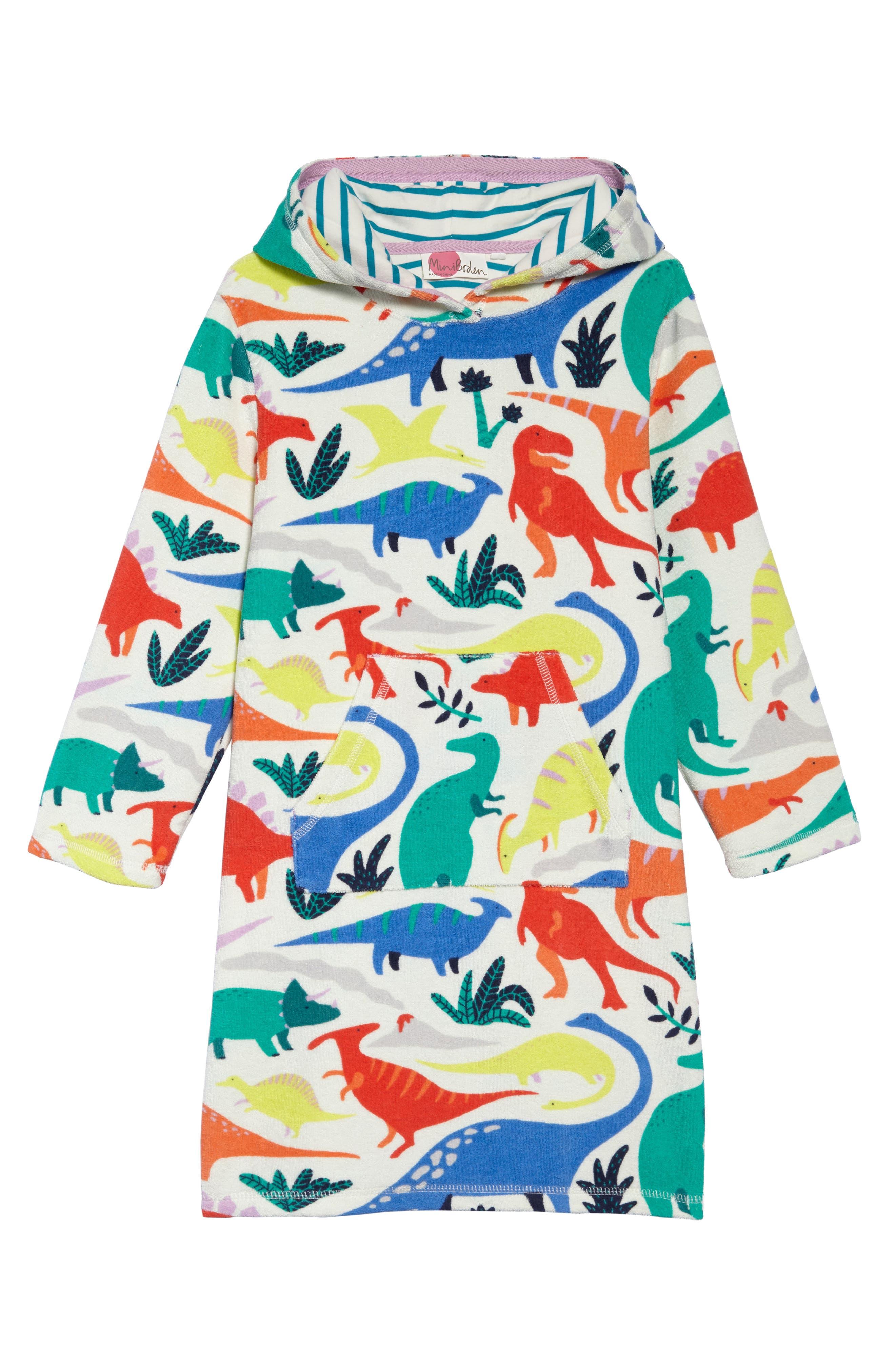 Terry Cloth Dino Beach Dress,                         Main,                         color, Ivory Do-You-Think-She-Saurus