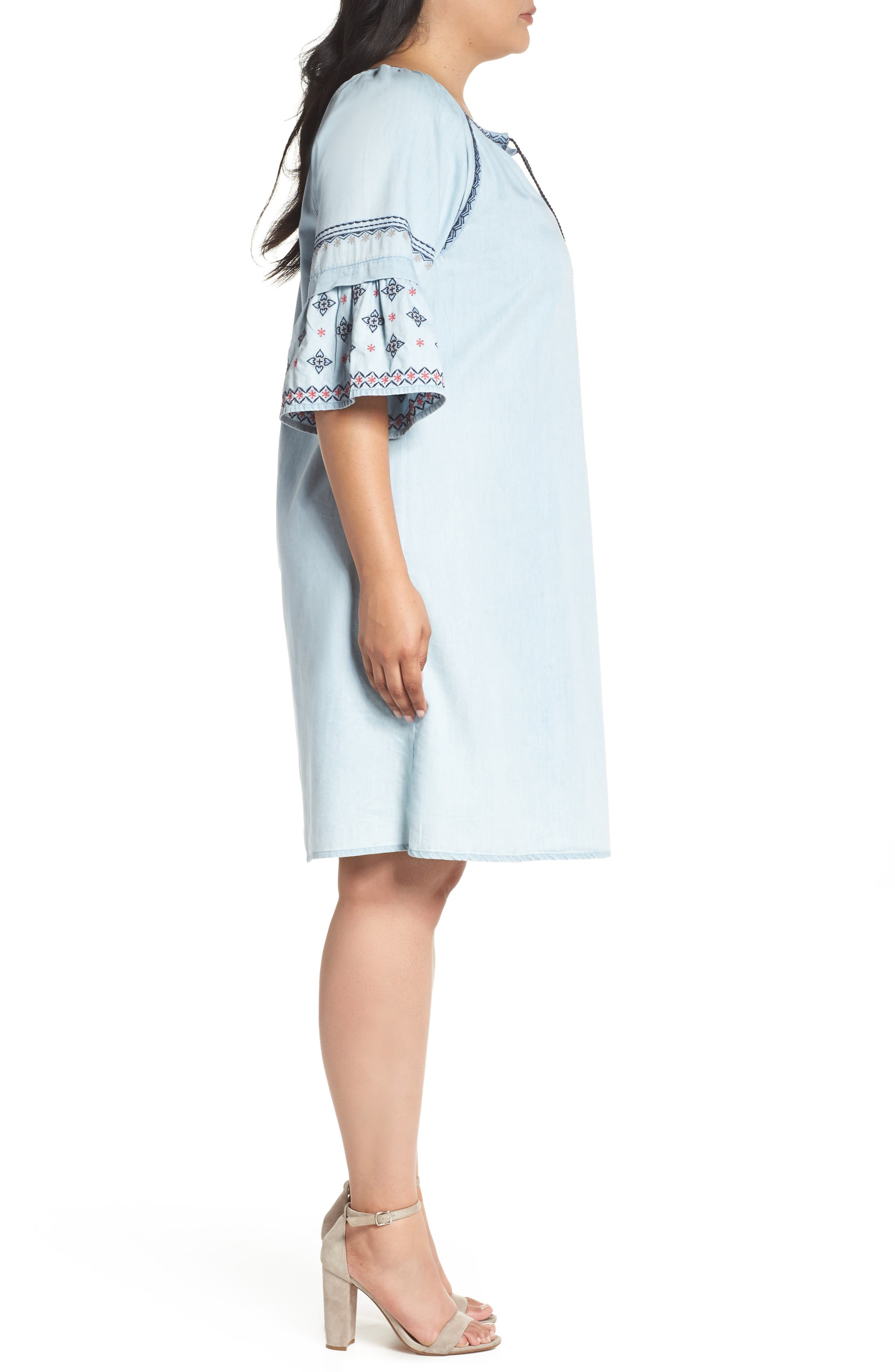 Embroidered Chambray Dress,                             Alternate thumbnail 3, color,                             Spectrum Wash