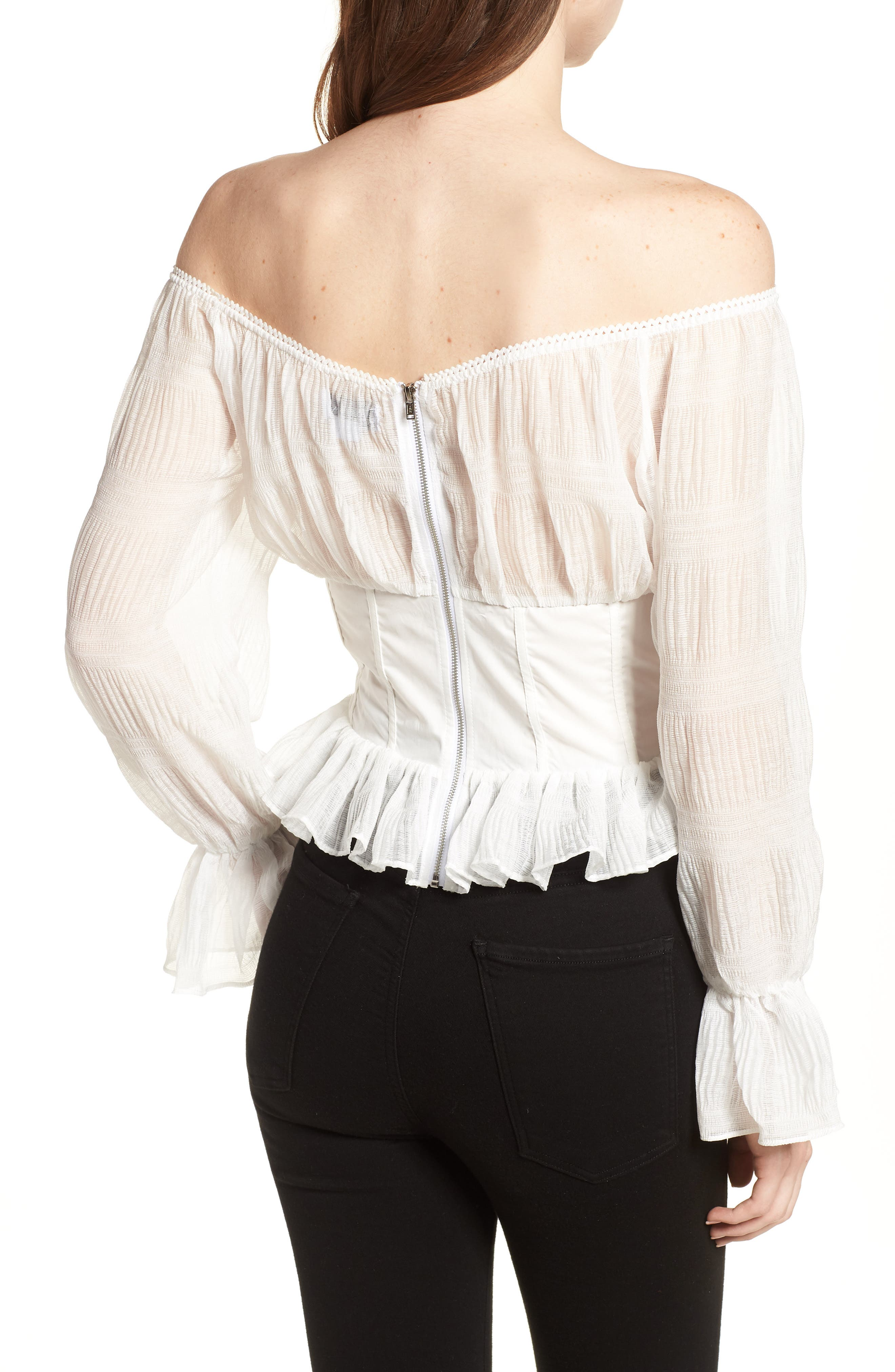 Date Night Off the Shoulder Chiffon Top,                             Alternate thumbnail 2, color,                             White