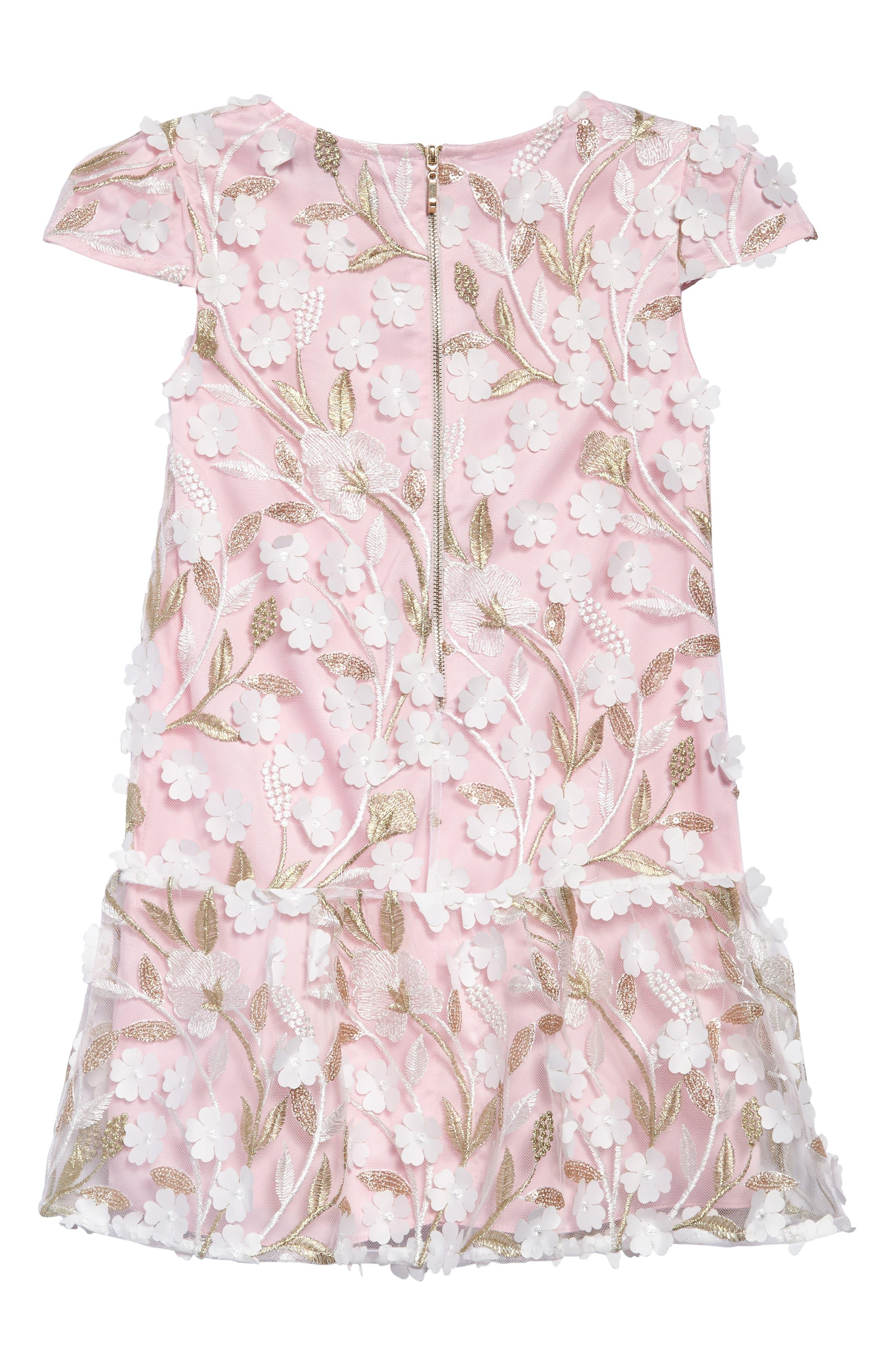Floral Drop Waist Dress,                             Alternate thumbnail 2, color,                             Pink