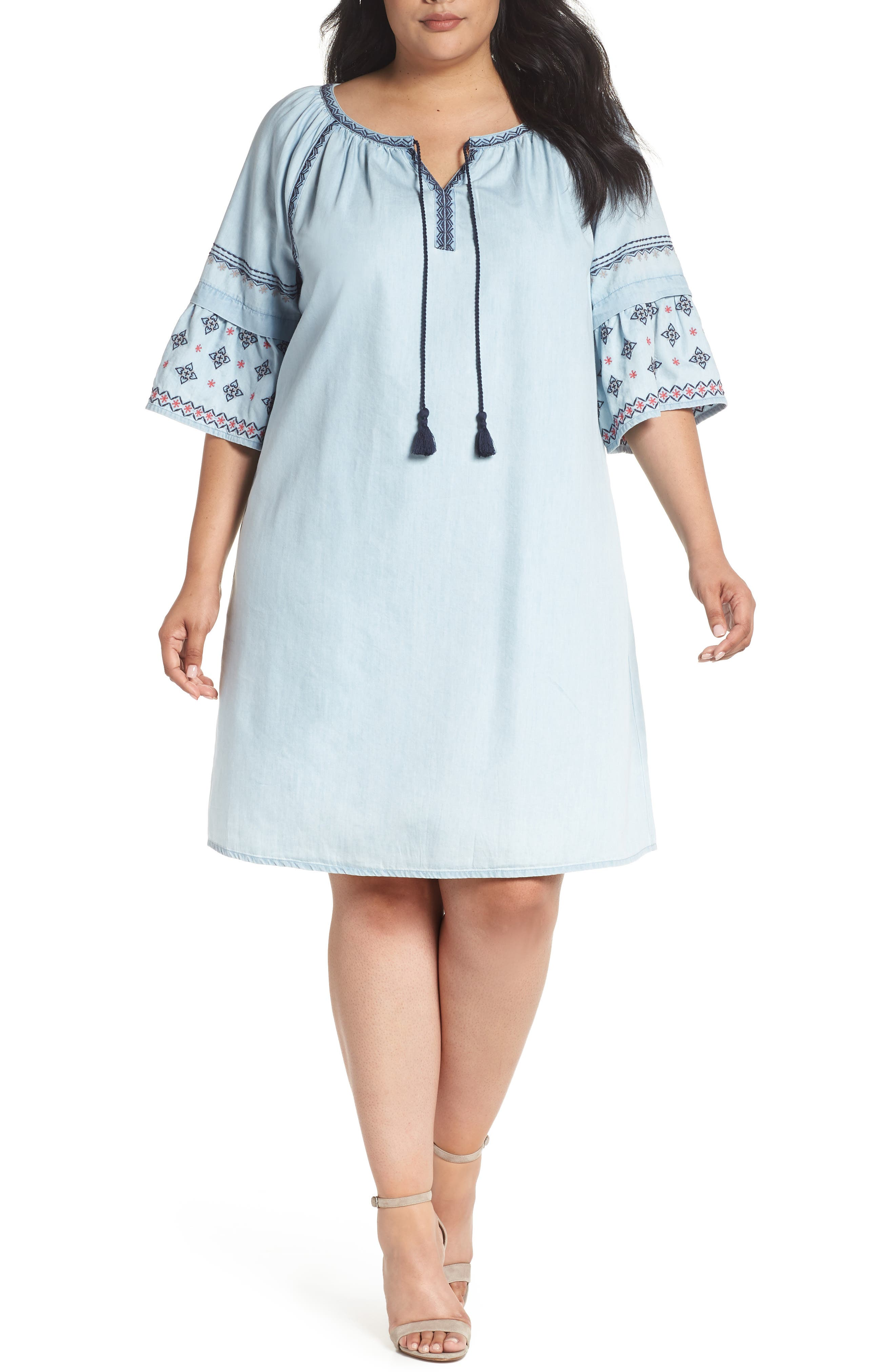 Embroidered Chambray Dress,                             Main thumbnail 1, color,                             Spectrum Wash