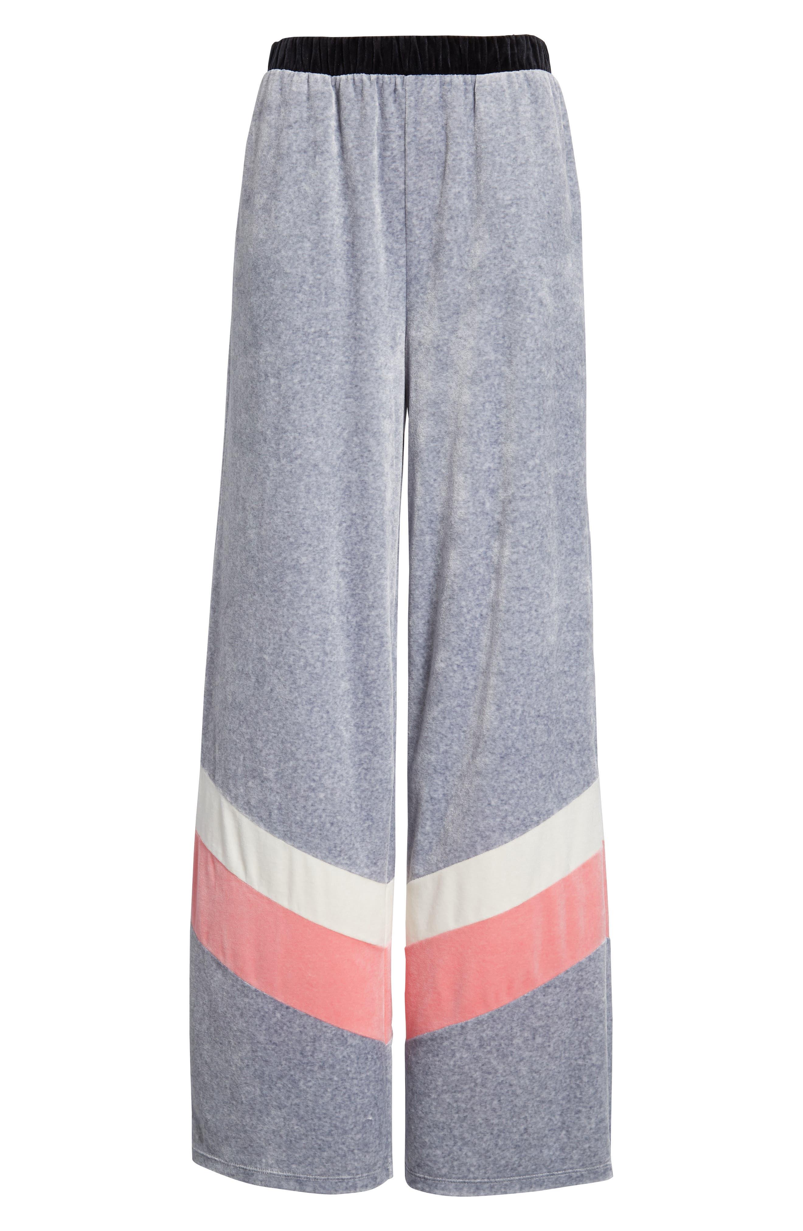 Colorblock Velour Wide Leg Pants,                             Alternate thumbnail 7, color,                             Silver Lining Angel Combo
