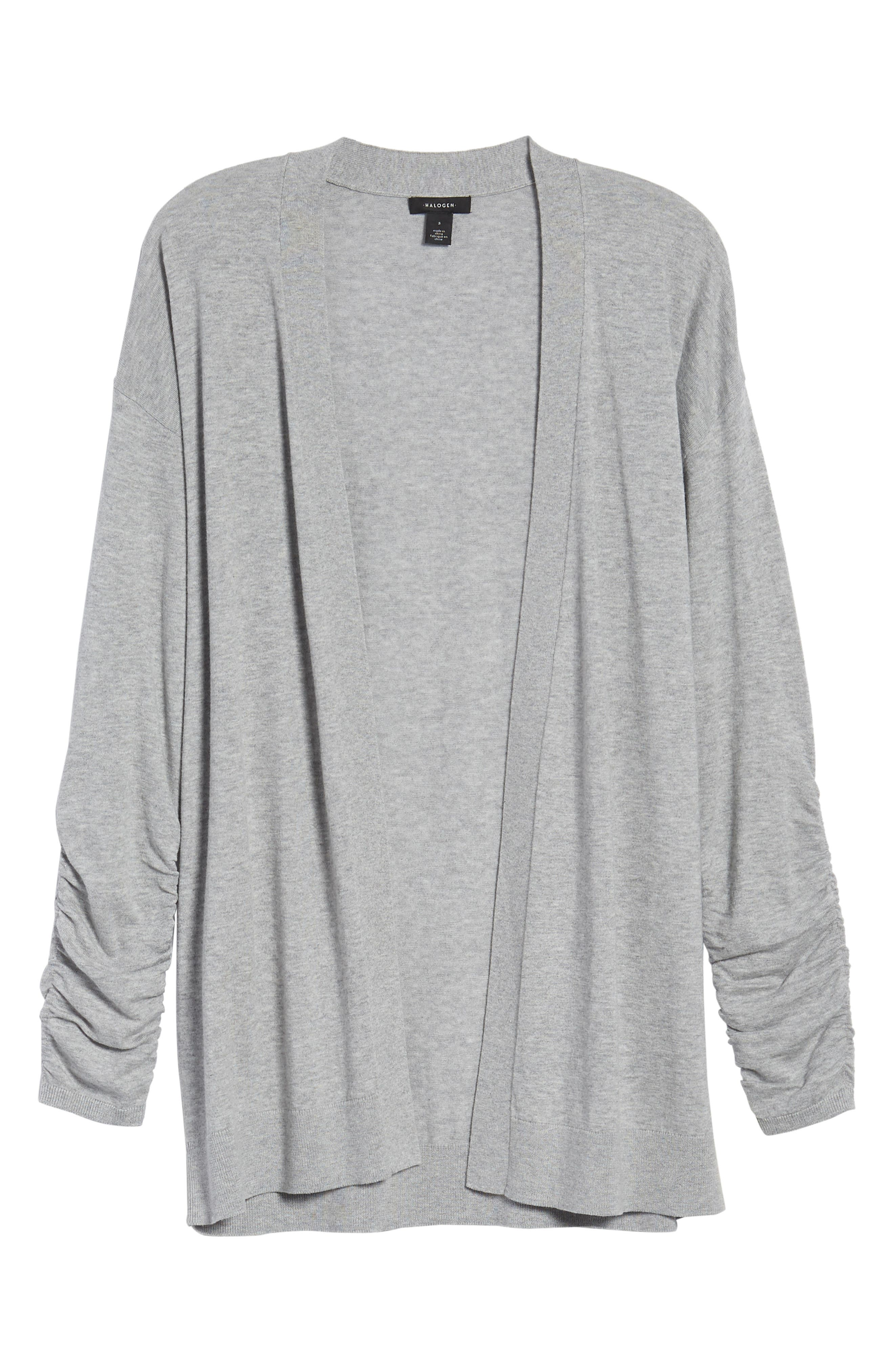 Ruched Sleeve Cardigan,                             Alternate thumbnail 7, color,                             Grey Heather