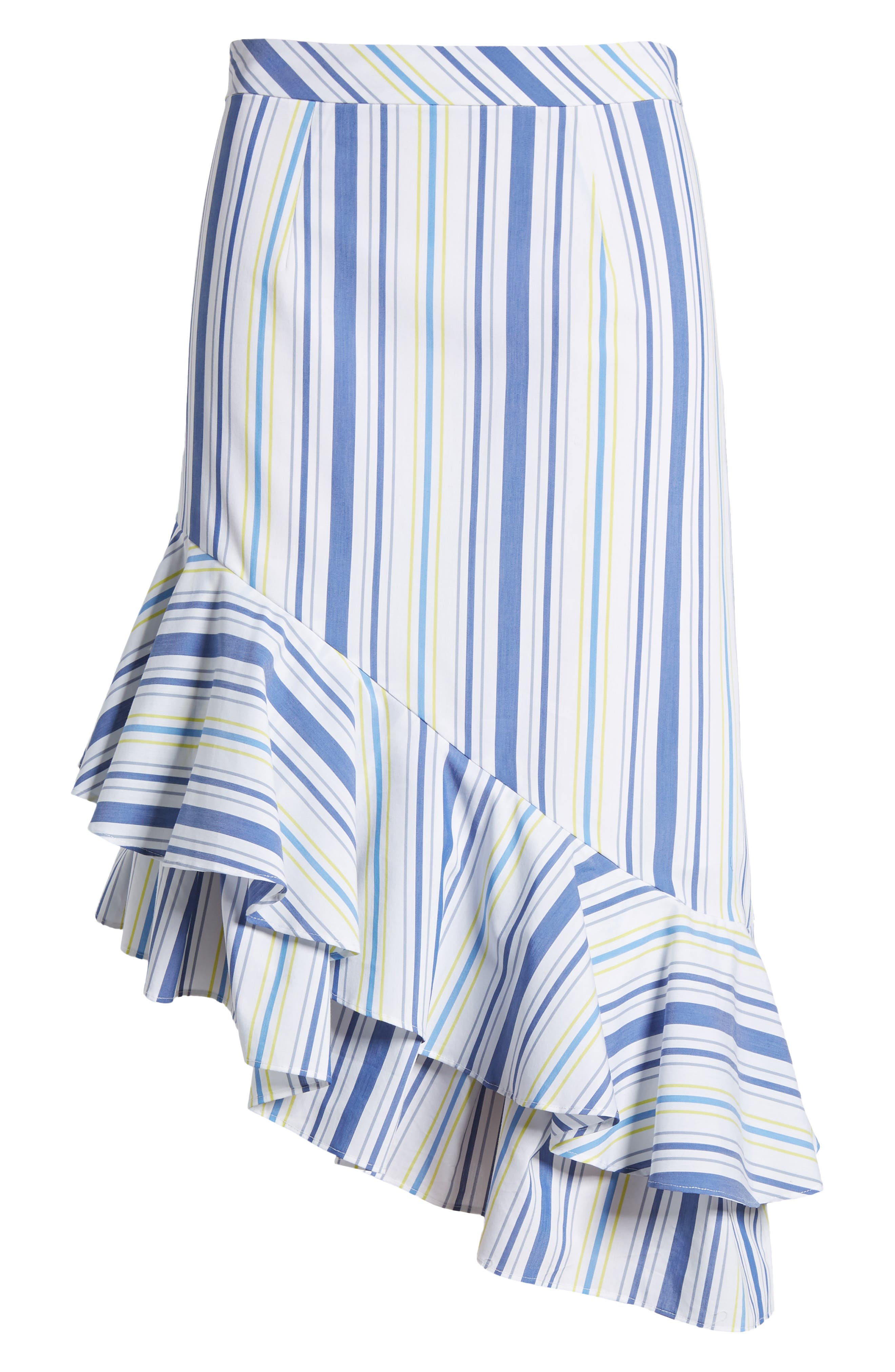 Alternate Image 6  - Halogen® Ruffle Hem Stripe Skirt (Regular & Petite)