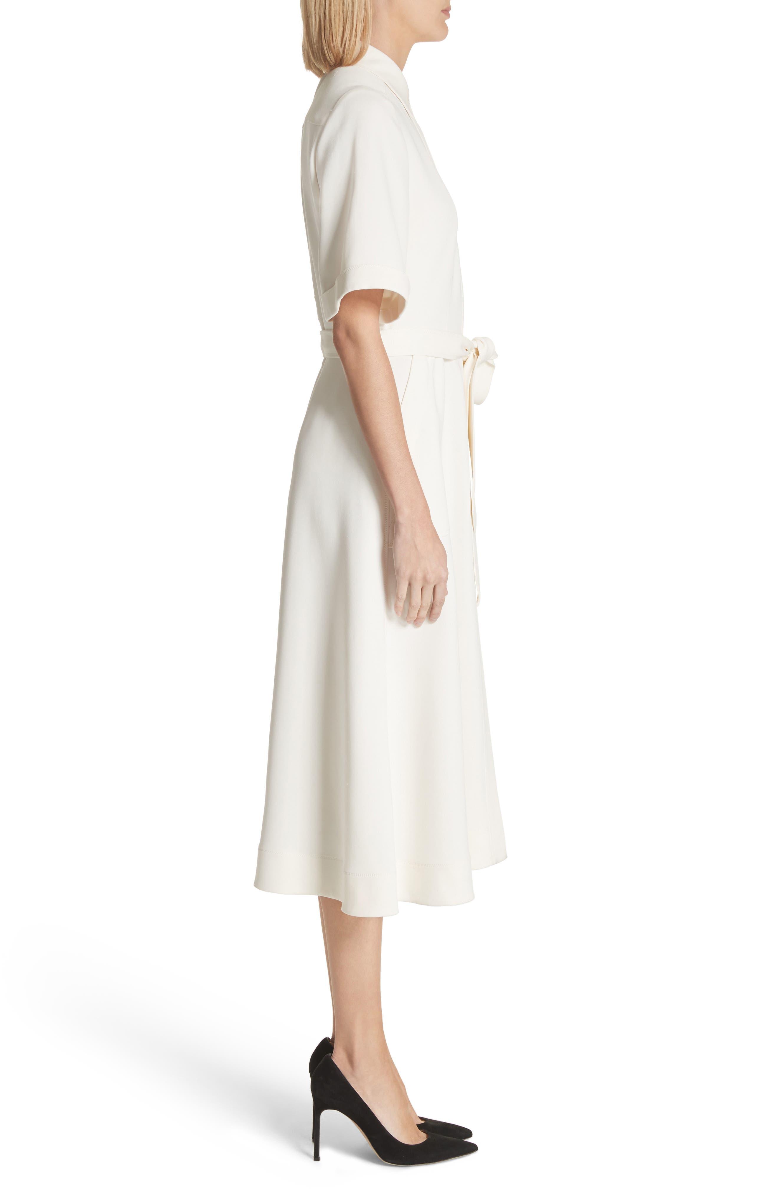 Carmen Belted Shirtdress,                             Alternate thumbnail 3, color,                             Off White