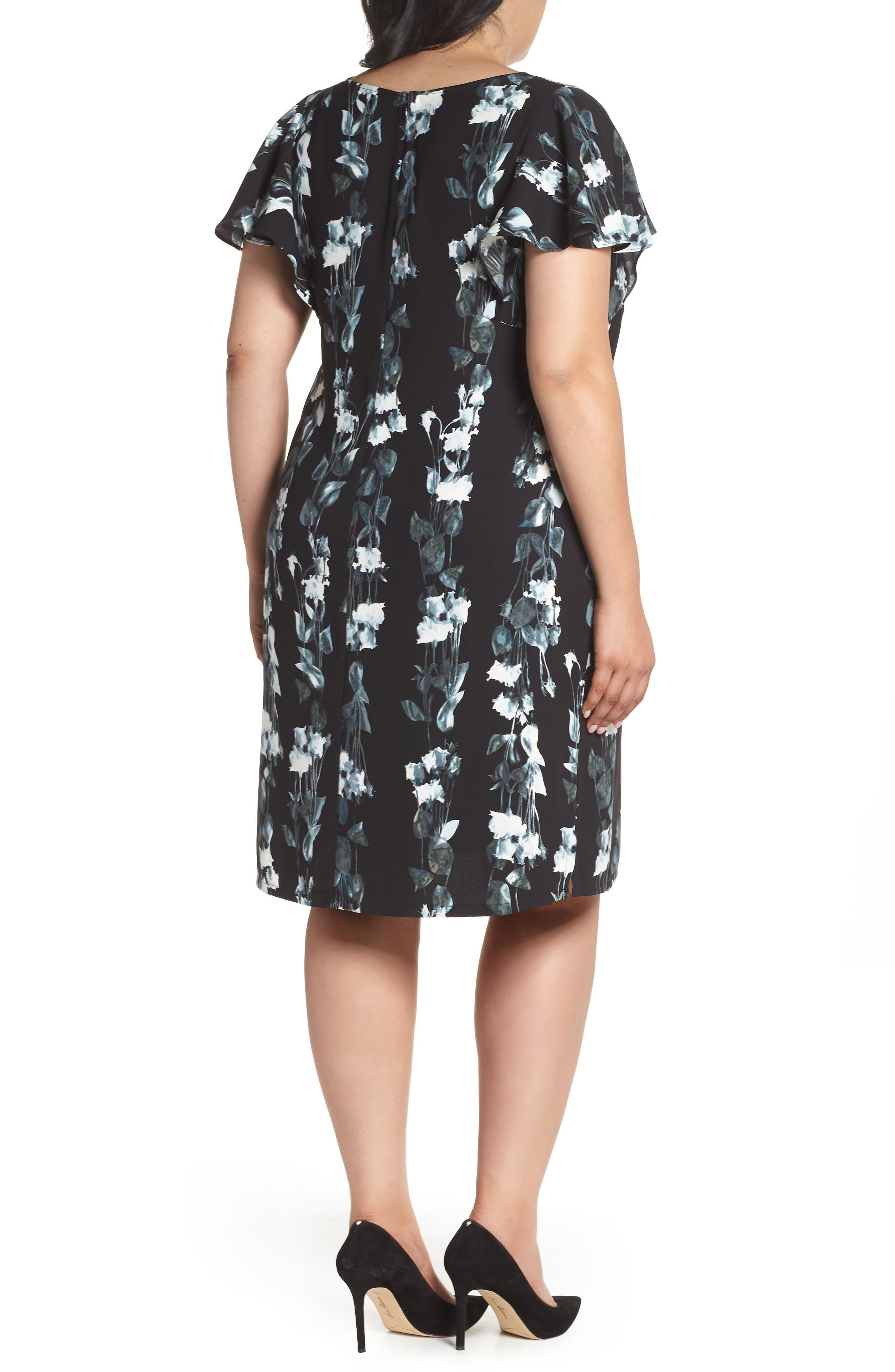 Flutter Sleeve Shift Dress,                             Alternate thumbnail 2, color,                             Black- Blue Vertical Florals