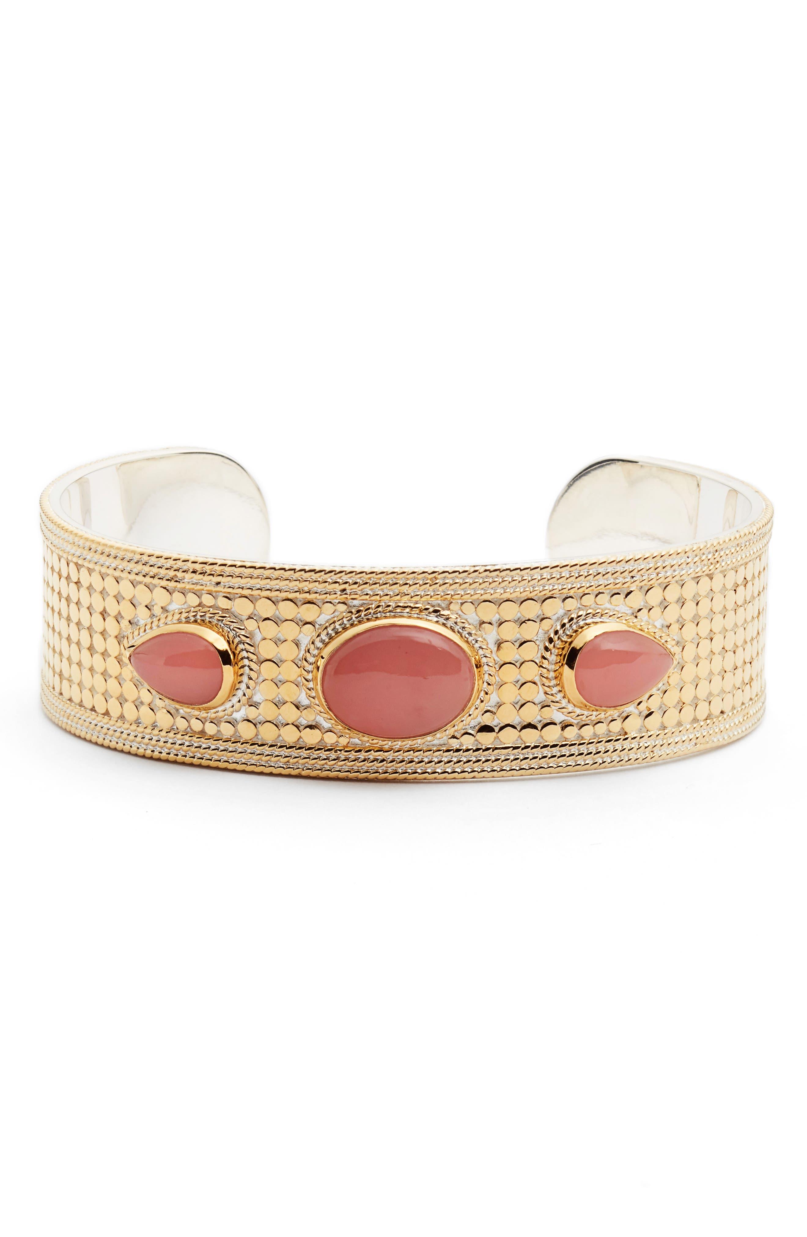 Guava Quartz Medium Cuff Bracelet,                             Main thumbnail 1, color,                             Gold/ Guava Quartz