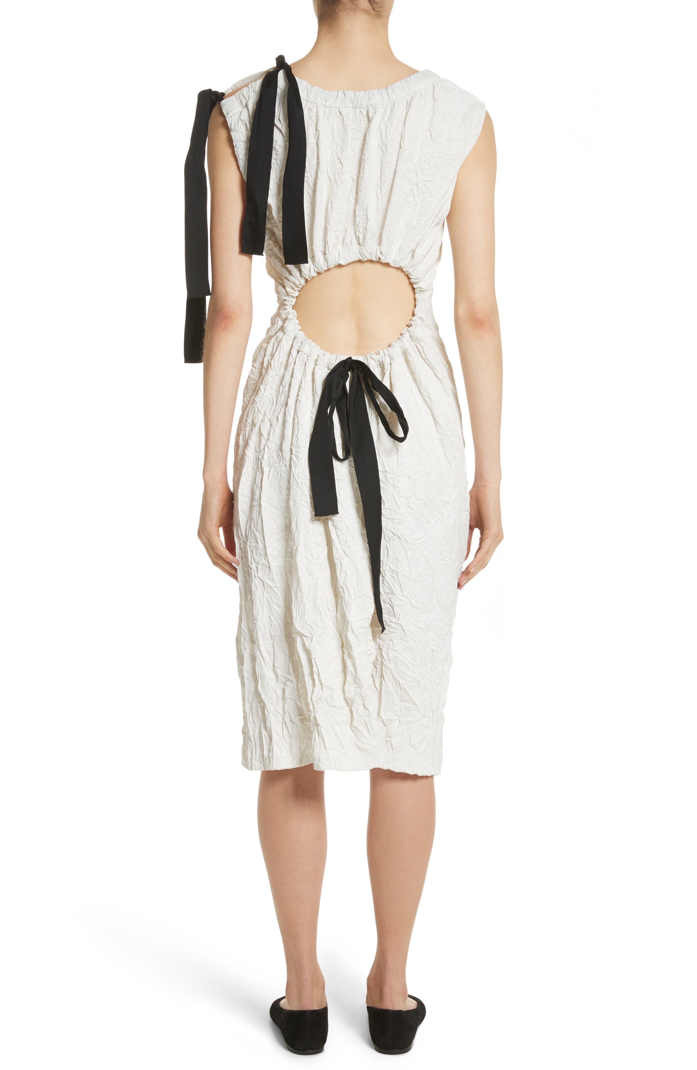 Cutout Drawstring Dress,                             Alternate thumbnail 2, color,                             Oyster