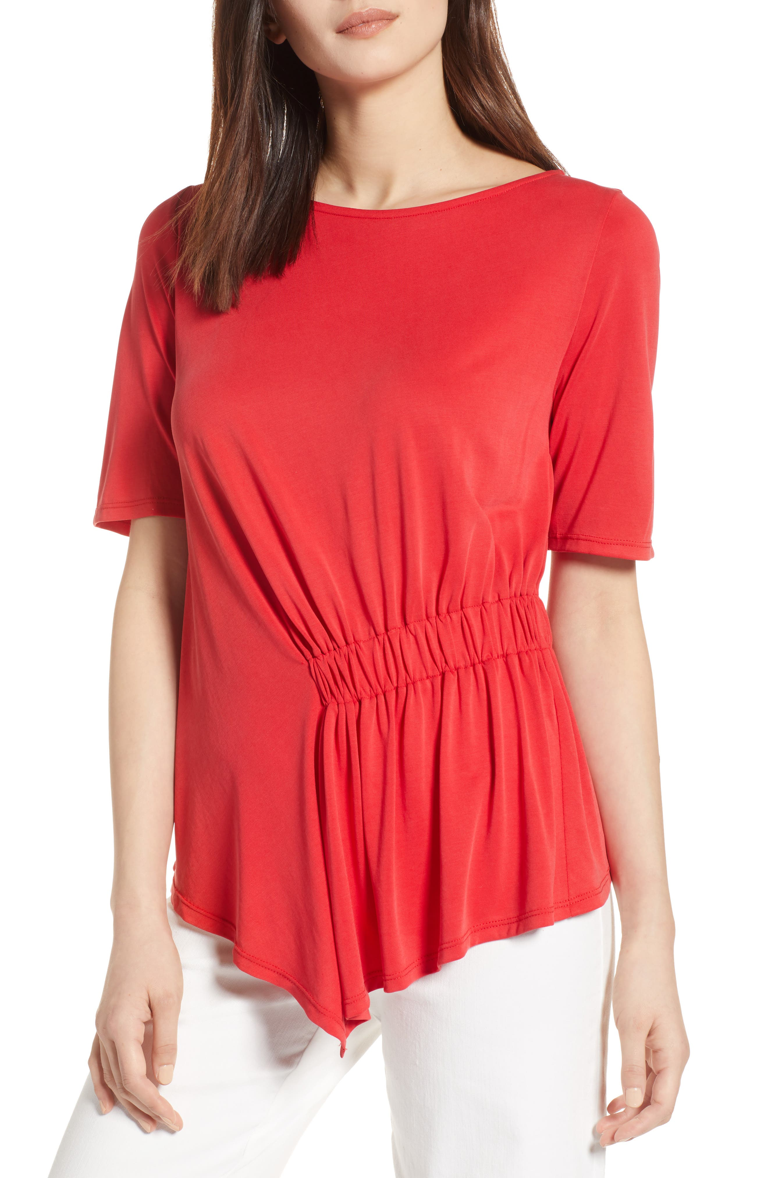 Ruched Waist Tee,                         Main,                         color, Red