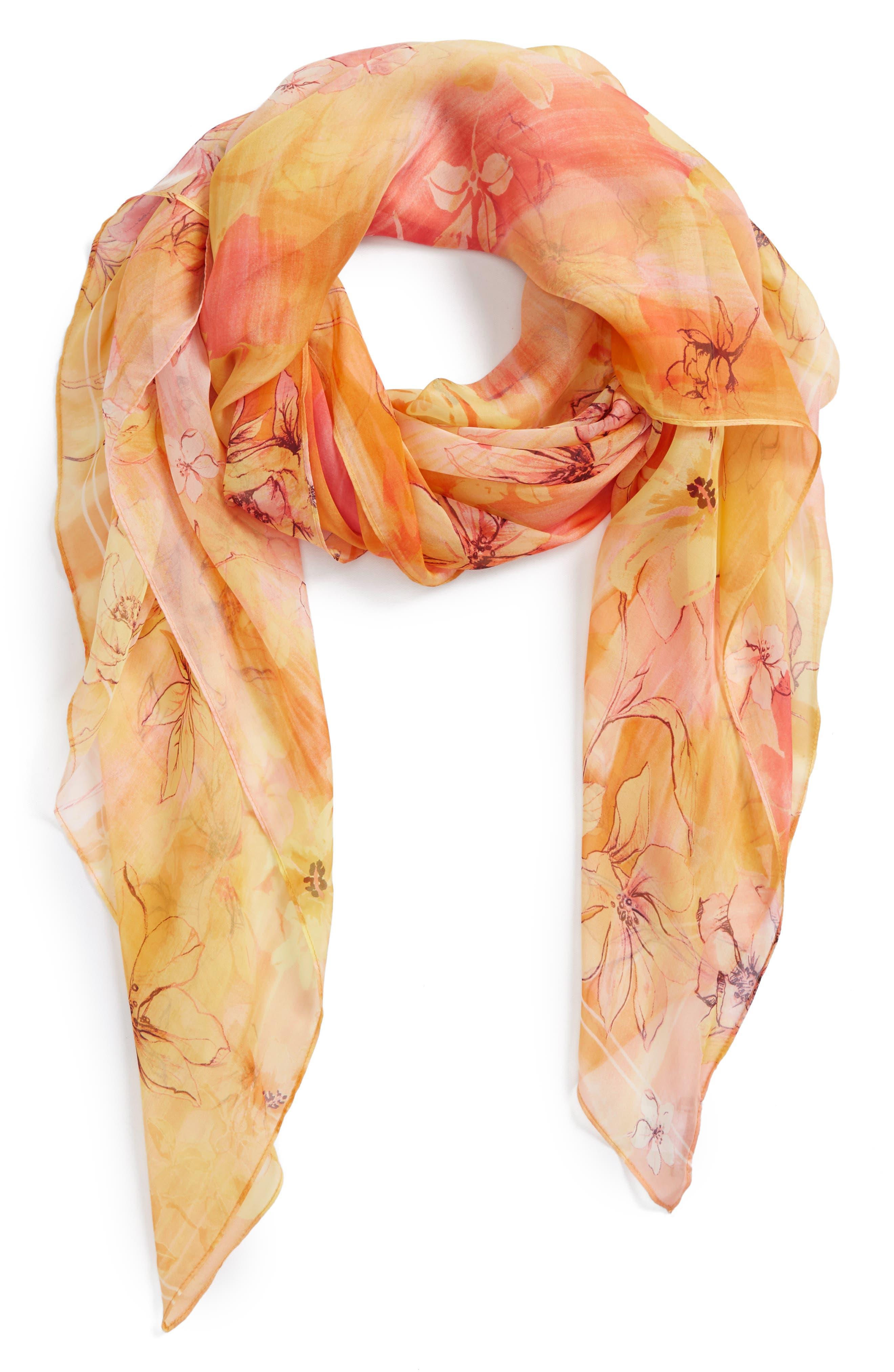 Silk Chiffon Oblong Scarf,                             Main thumbnail 1, color,                             Yellow Morningsong Floral