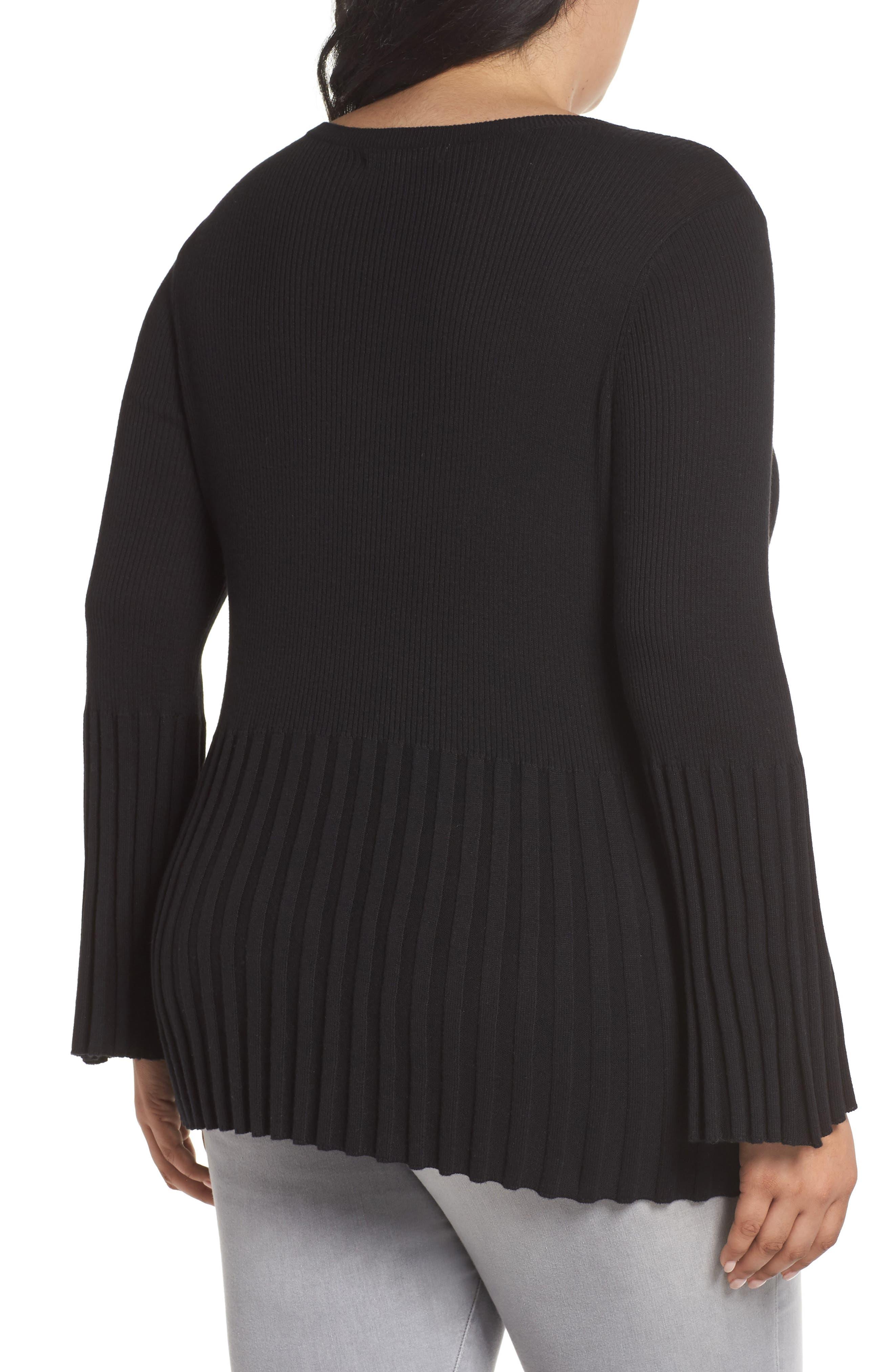 Ribbed Cotton Blend Sweater,                             Alternate thumbnail 2, color,                             Black