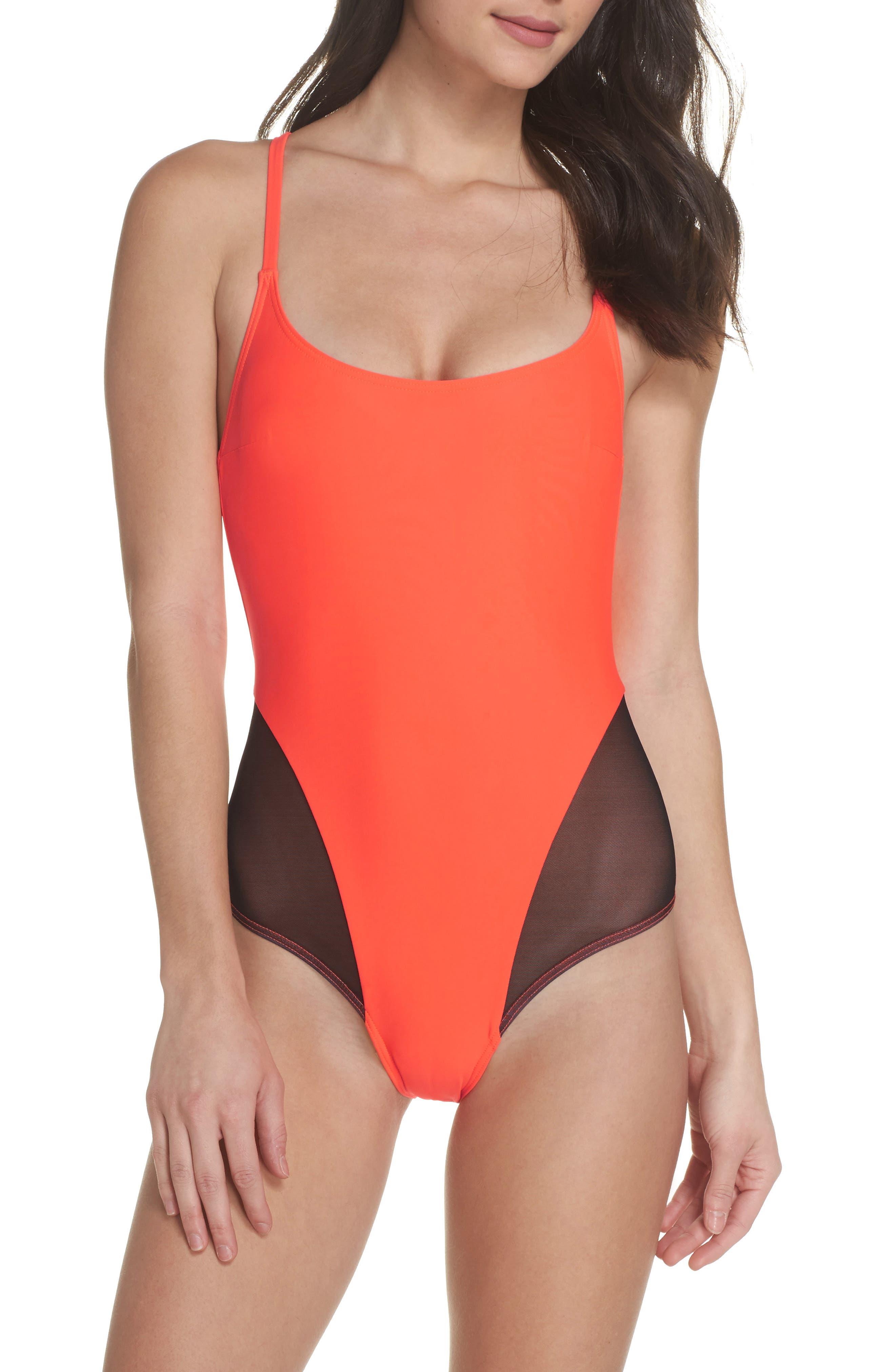 Delta X One-Piece Swimsuit,                         Main,                         color, Neon Lava Orange