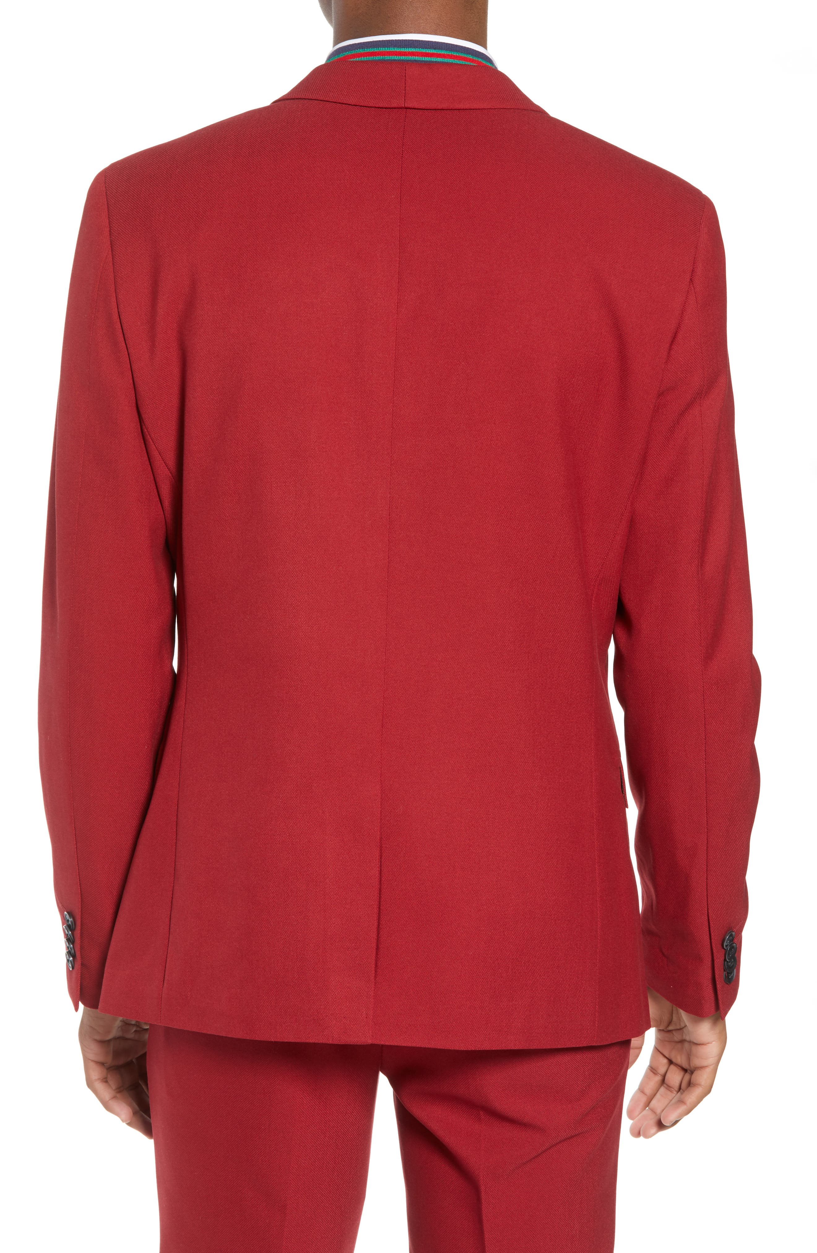 Skinny Fit Suit Jacket,                             Alternate thumbnail 2, color,                             Red