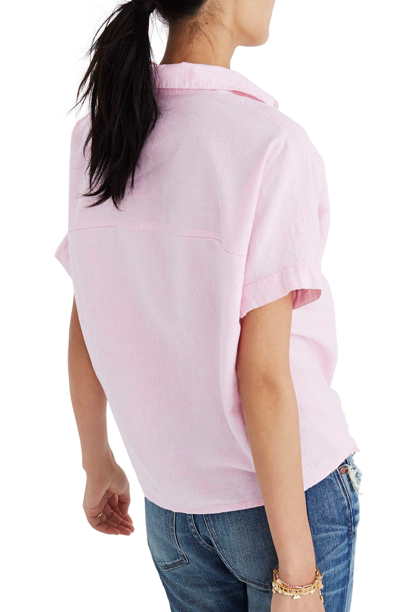Tie Front Short Sleeve Top,                             Alternate thumbnail 2, color,                             Paris Pink