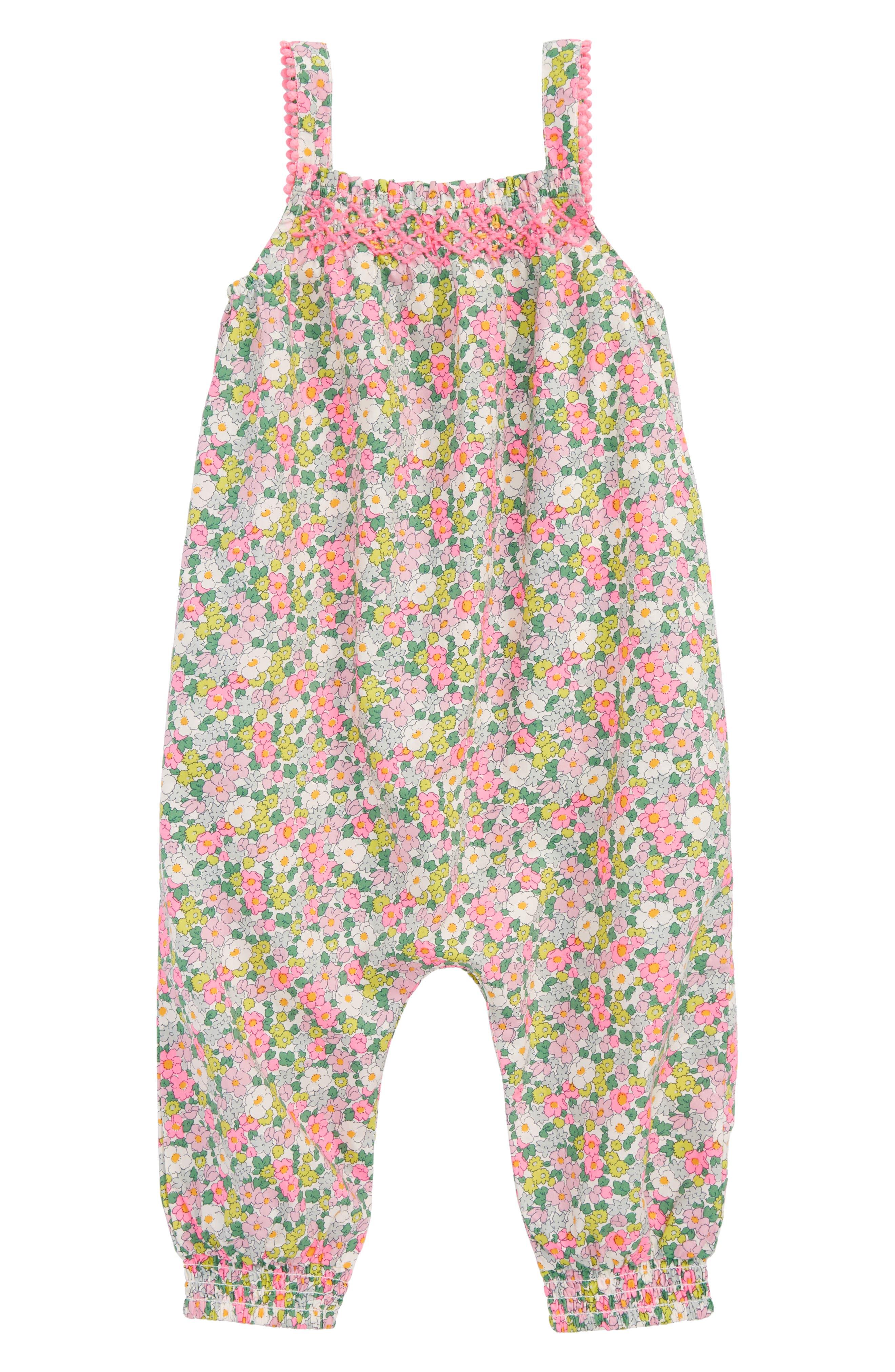 Main Image - Mini Boden Pretty Summer Romper (Baby Girls)