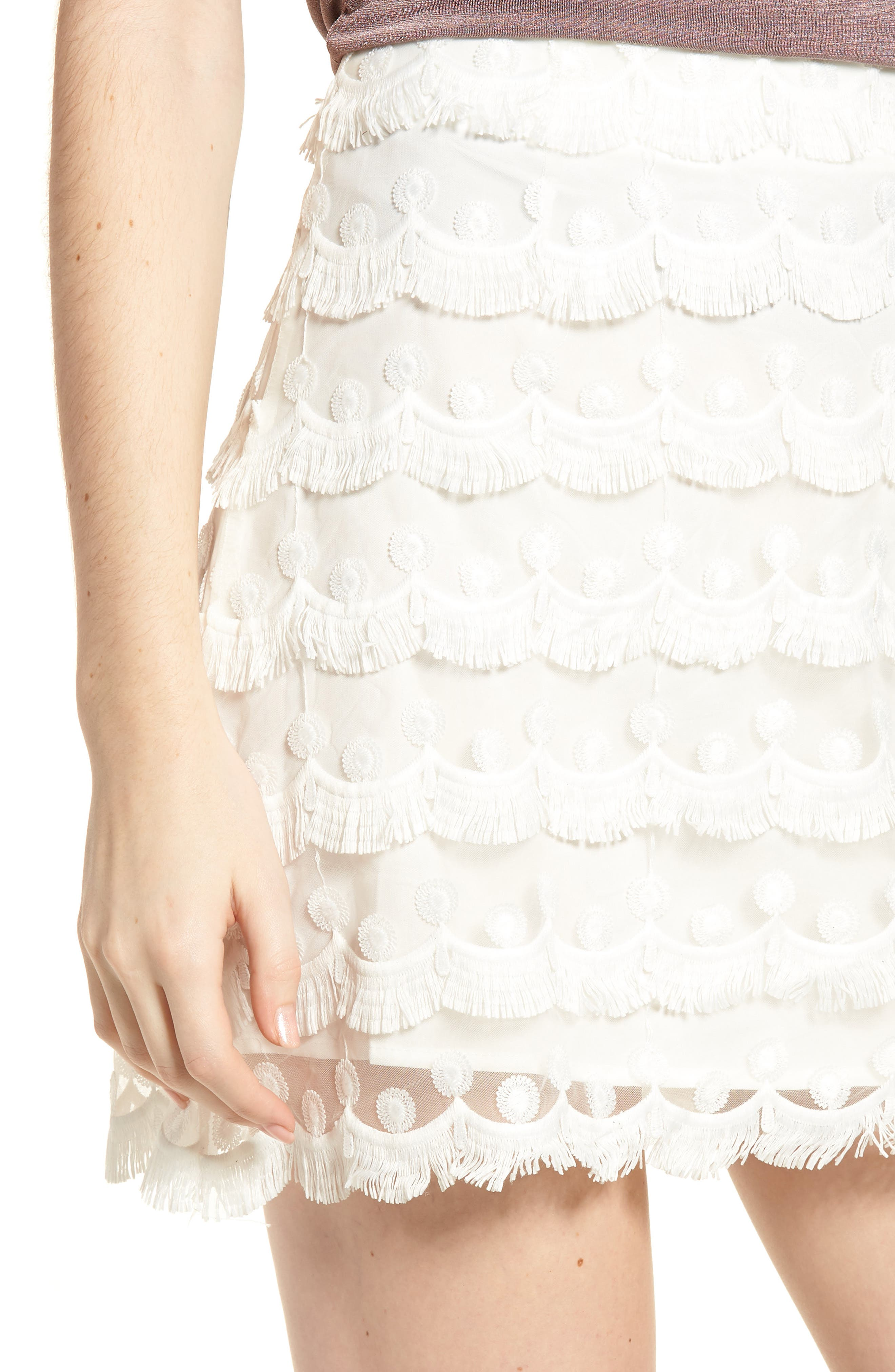3D Lace Fringed Miniskirt,                             Alternate thumbnail 5, color,                             White