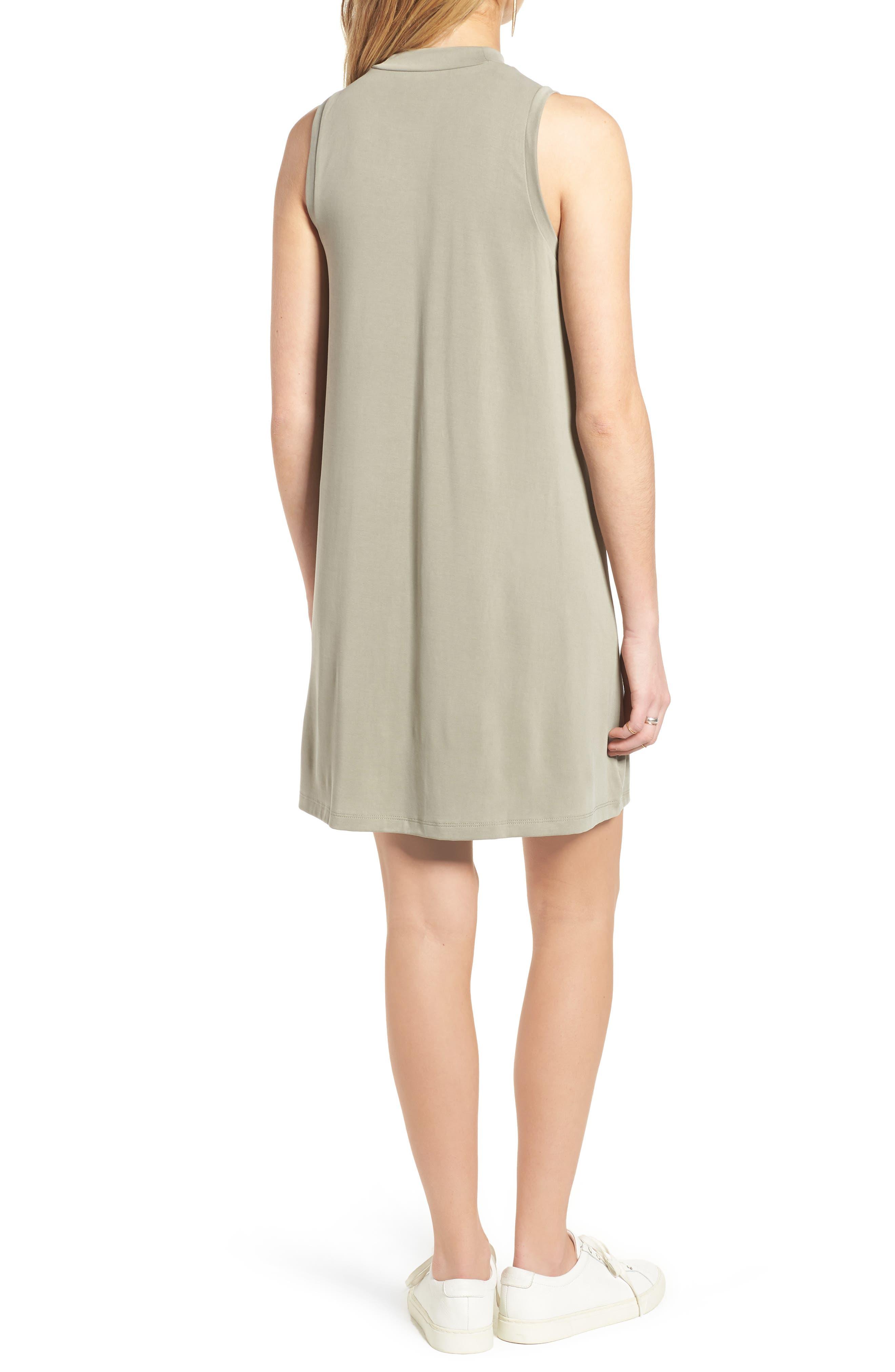 Sandwashed Mock Neck Tank Dress,                             Alternate thumbnail 2, color,                             Washed Olive