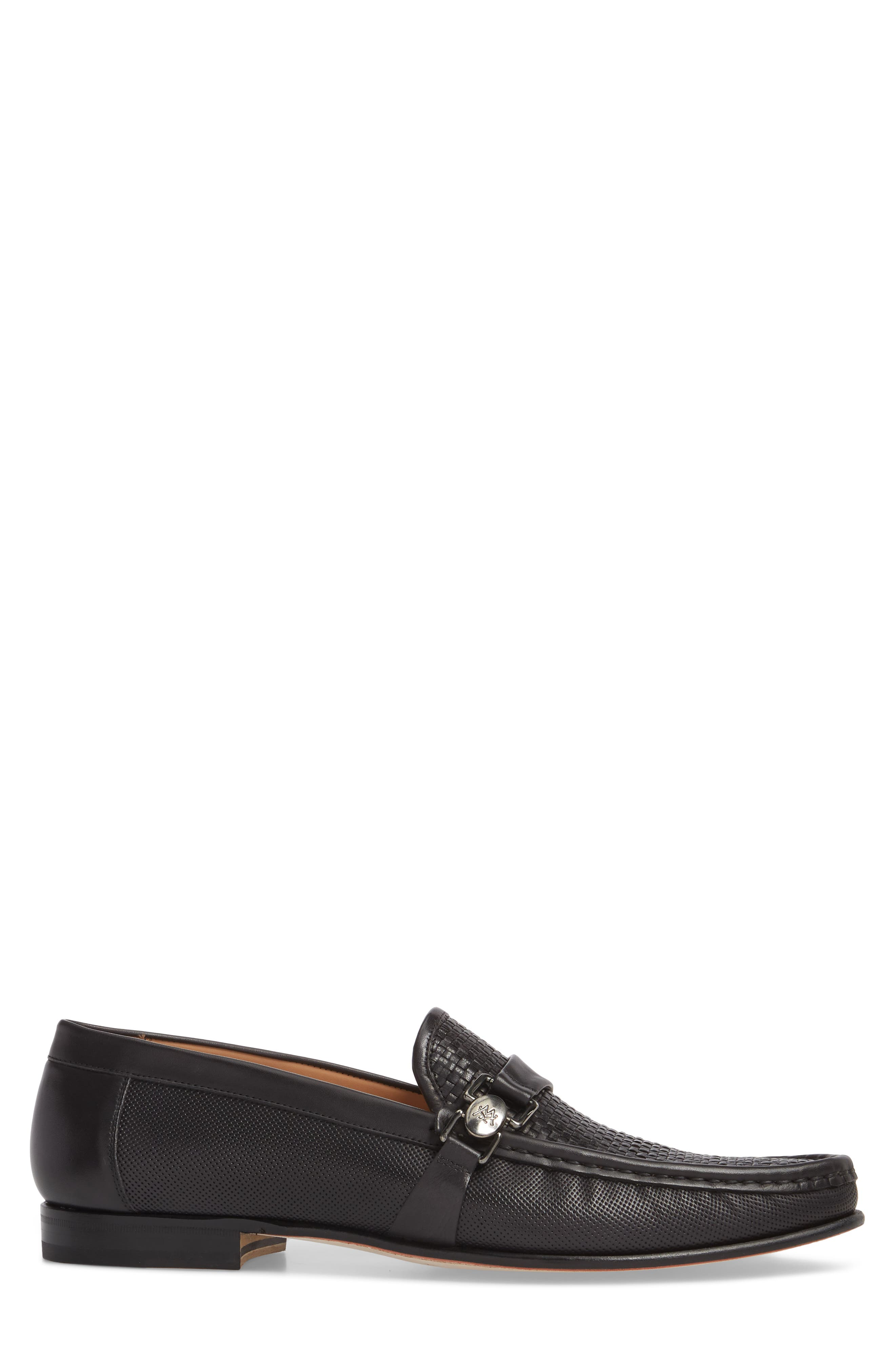 Horatio Woven Moc Toe Loafer,                             Alternate thumbnail 3, color,                             Black Leather
