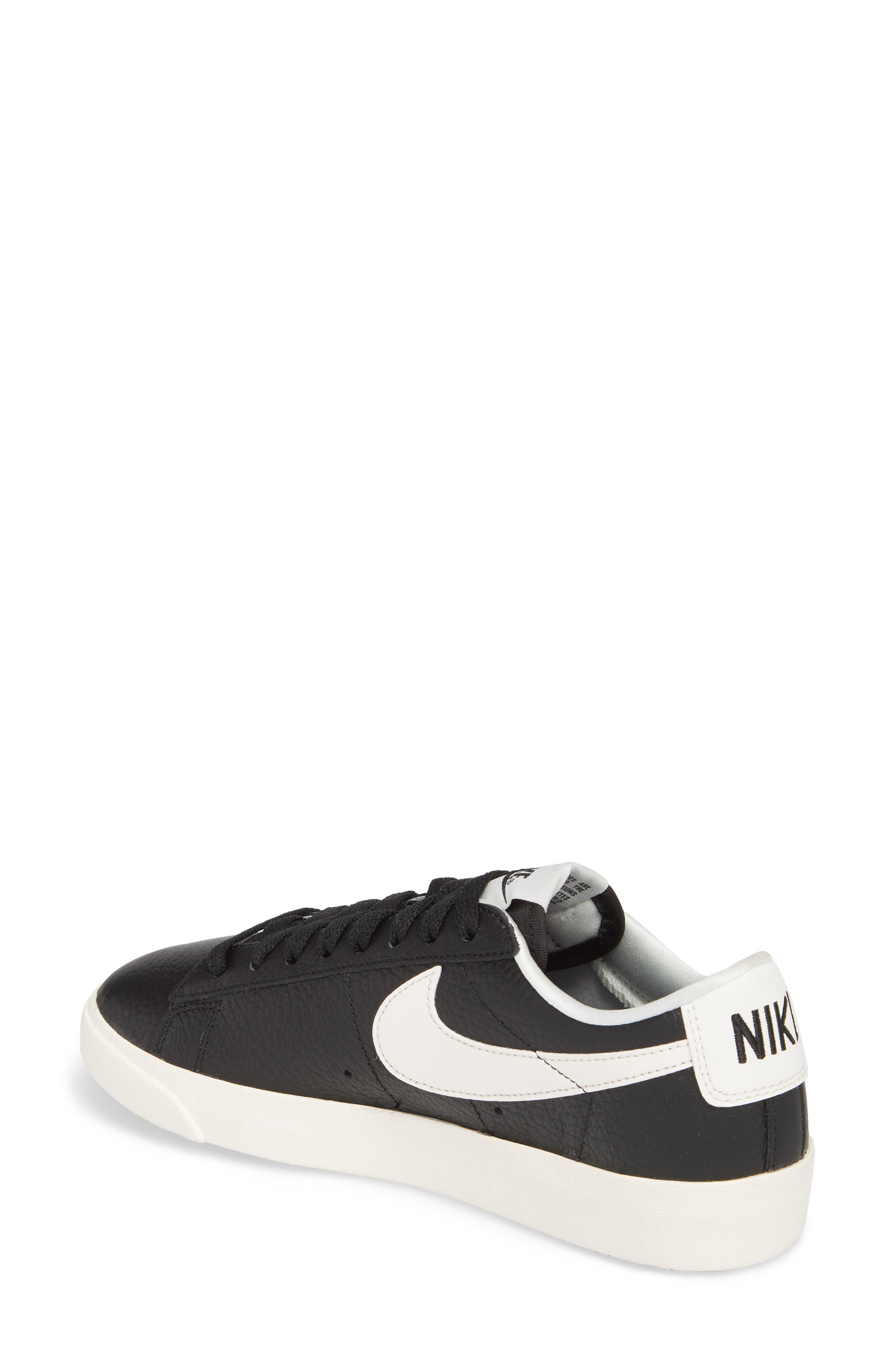 Blazer Premium Low Sneaker,                             Alternate thumbnail 2, color,                             Black/ White/ Black