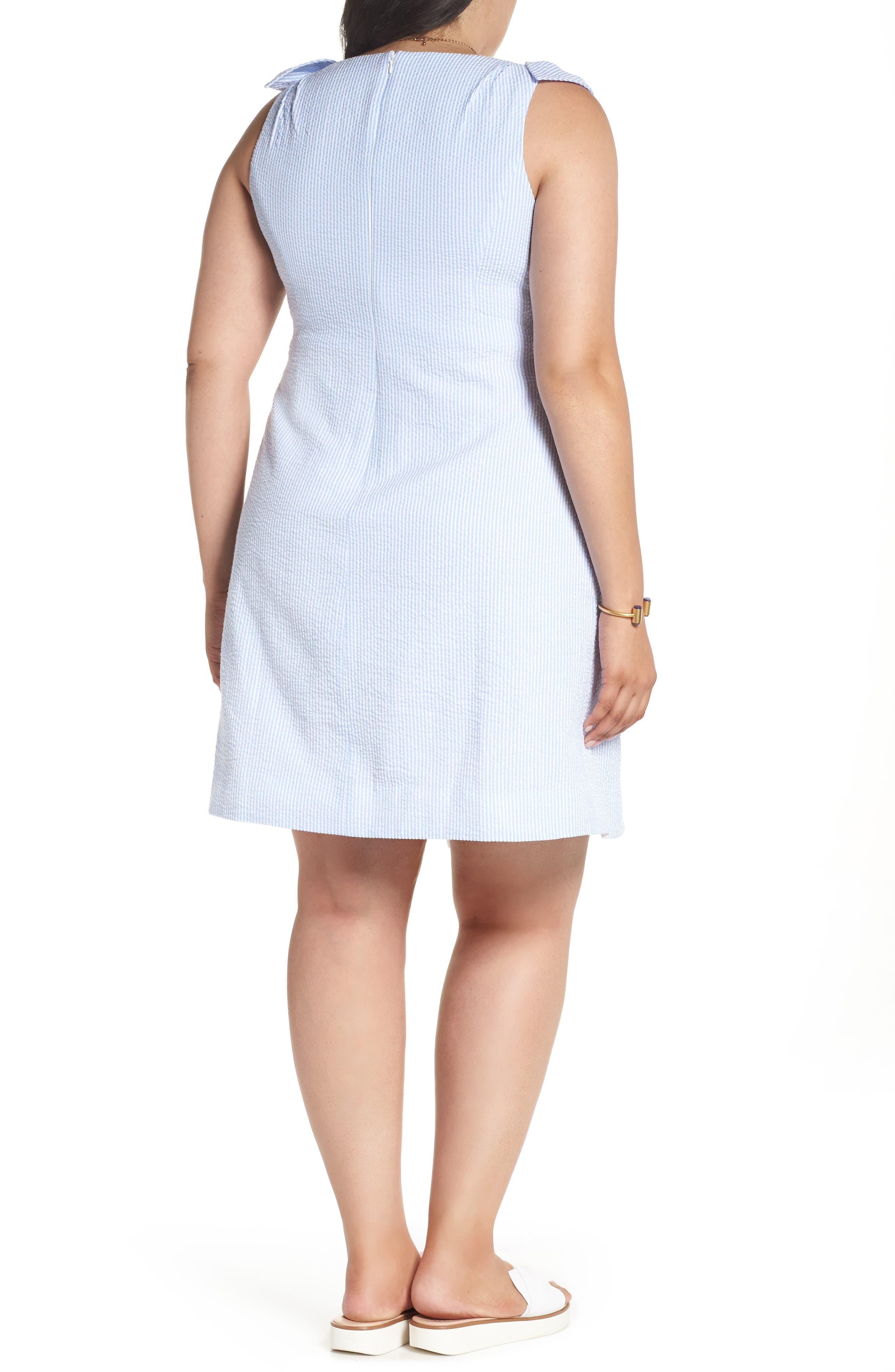 Bow Shoulder Seersucker Dress,                             Alternate thumbnail 3, color,                             Blue Seersucker Stripe