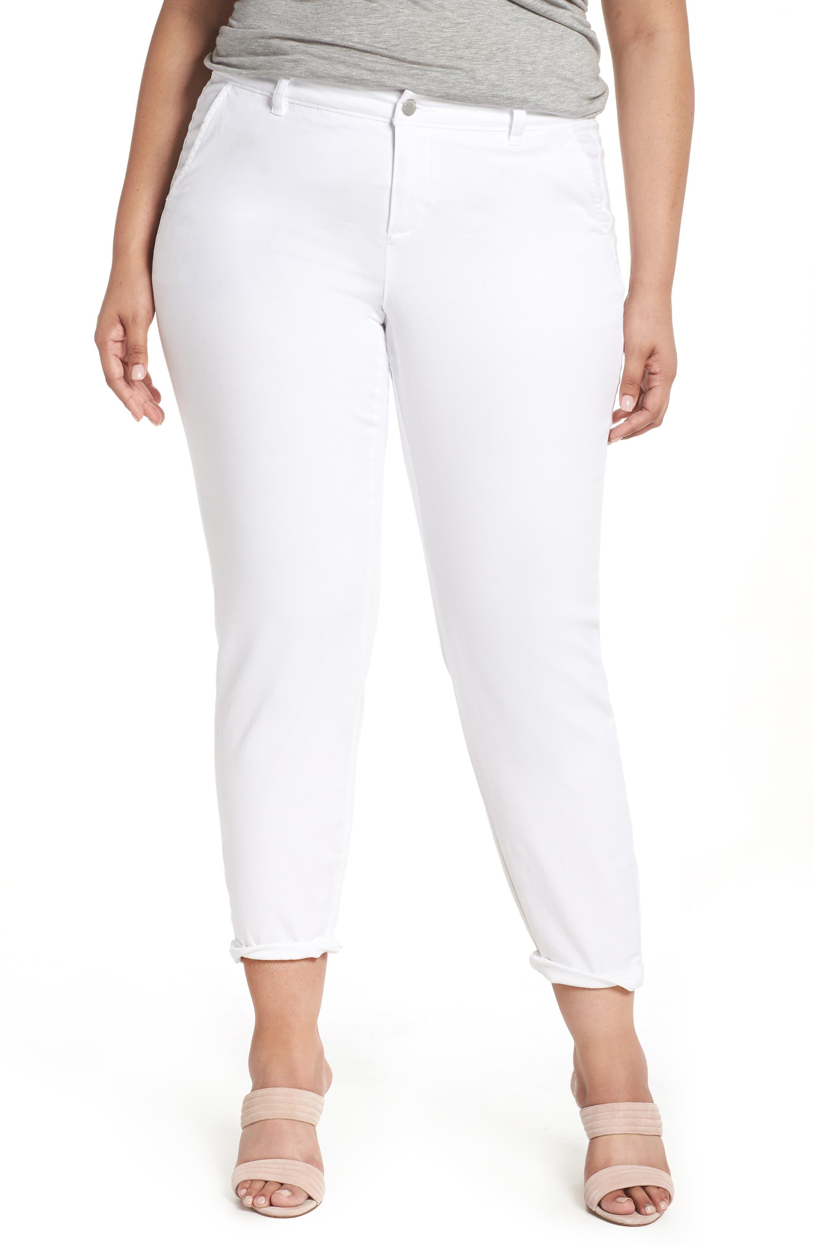 Boyfriend Stretch Cotton Chino Pants,                         Main,                         color, White