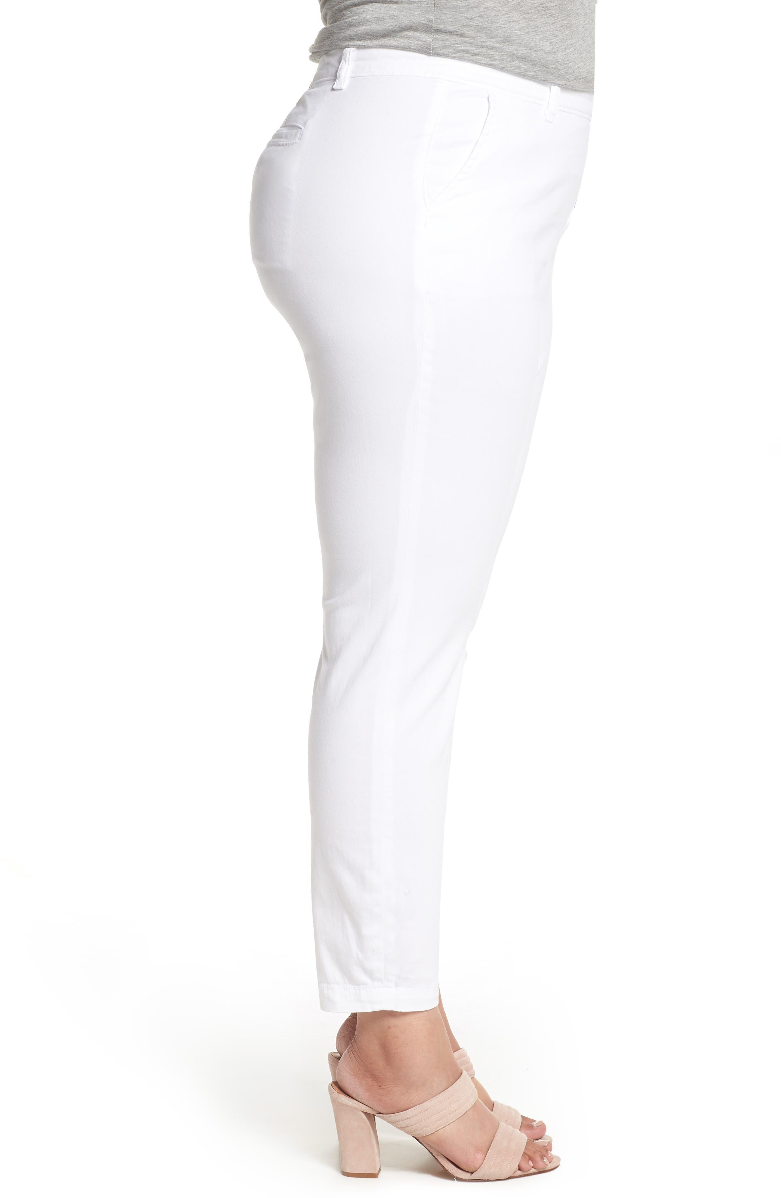 Boyfriend Stretch Cotton Chino Pants,                             Alternate thumbnail 3, color,                             White