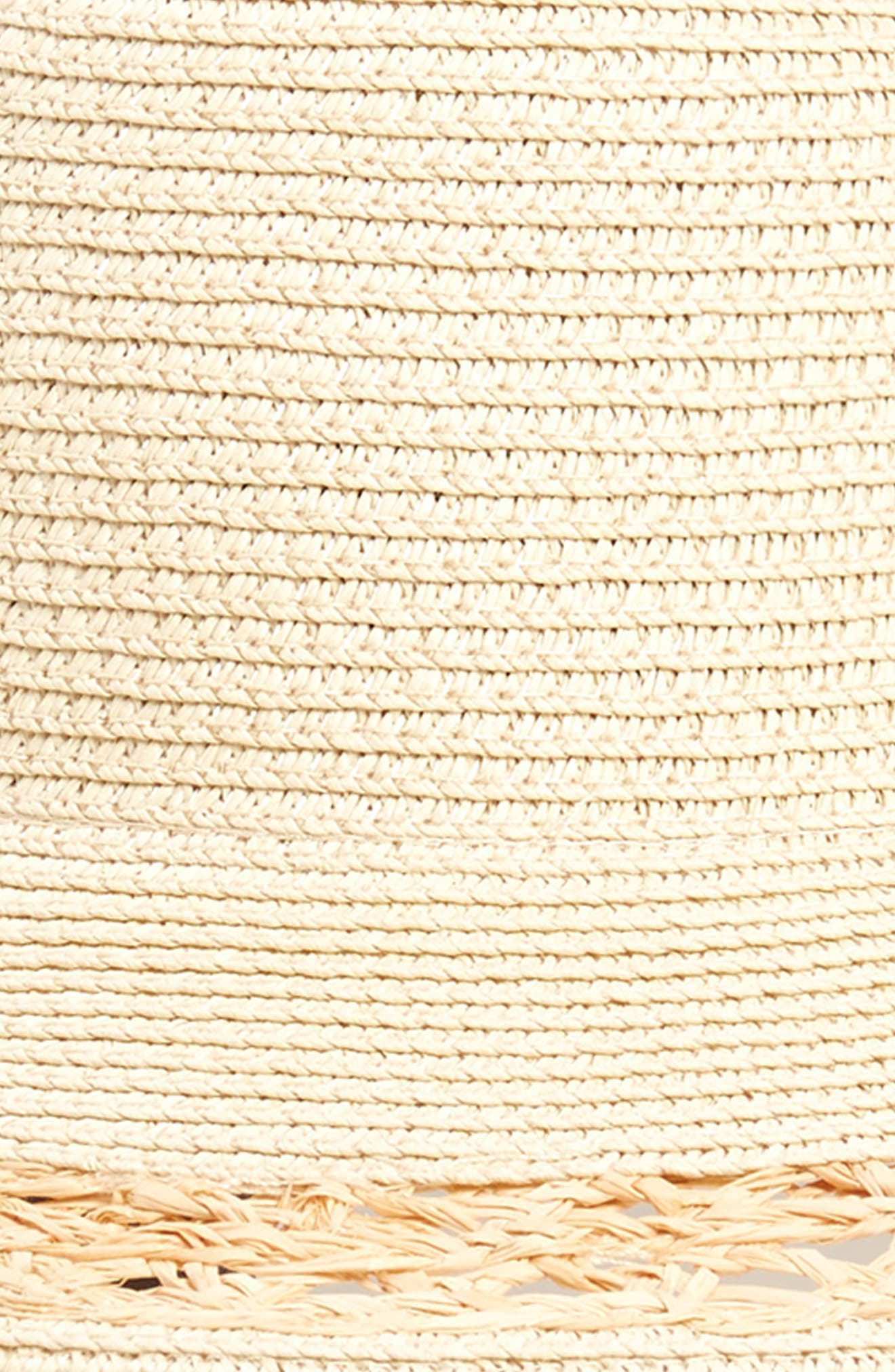 Fringe Edge Straw Hat,                             Alternate thumbnail 2, color,                             Natural/ Black