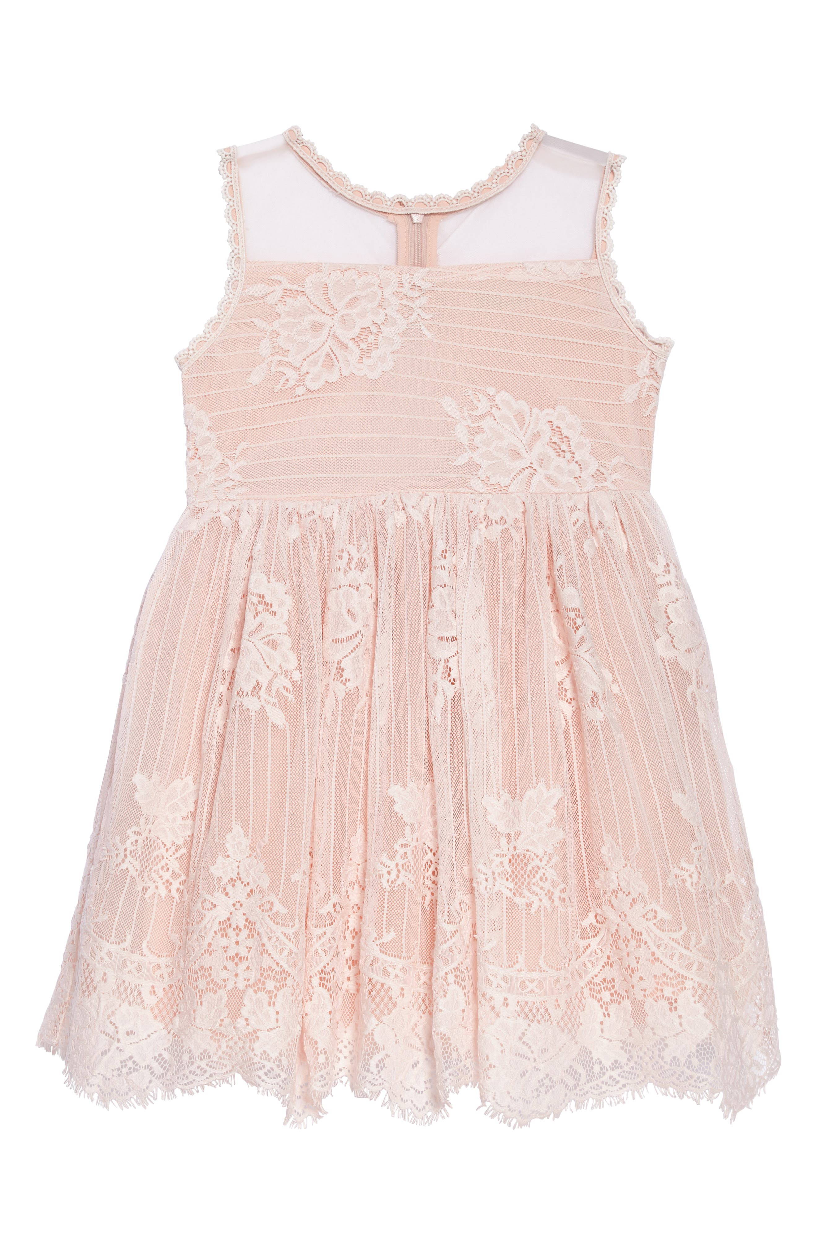 Lace Fit & Flare Dress,                             Main thumbnail 1, color,                             Pink