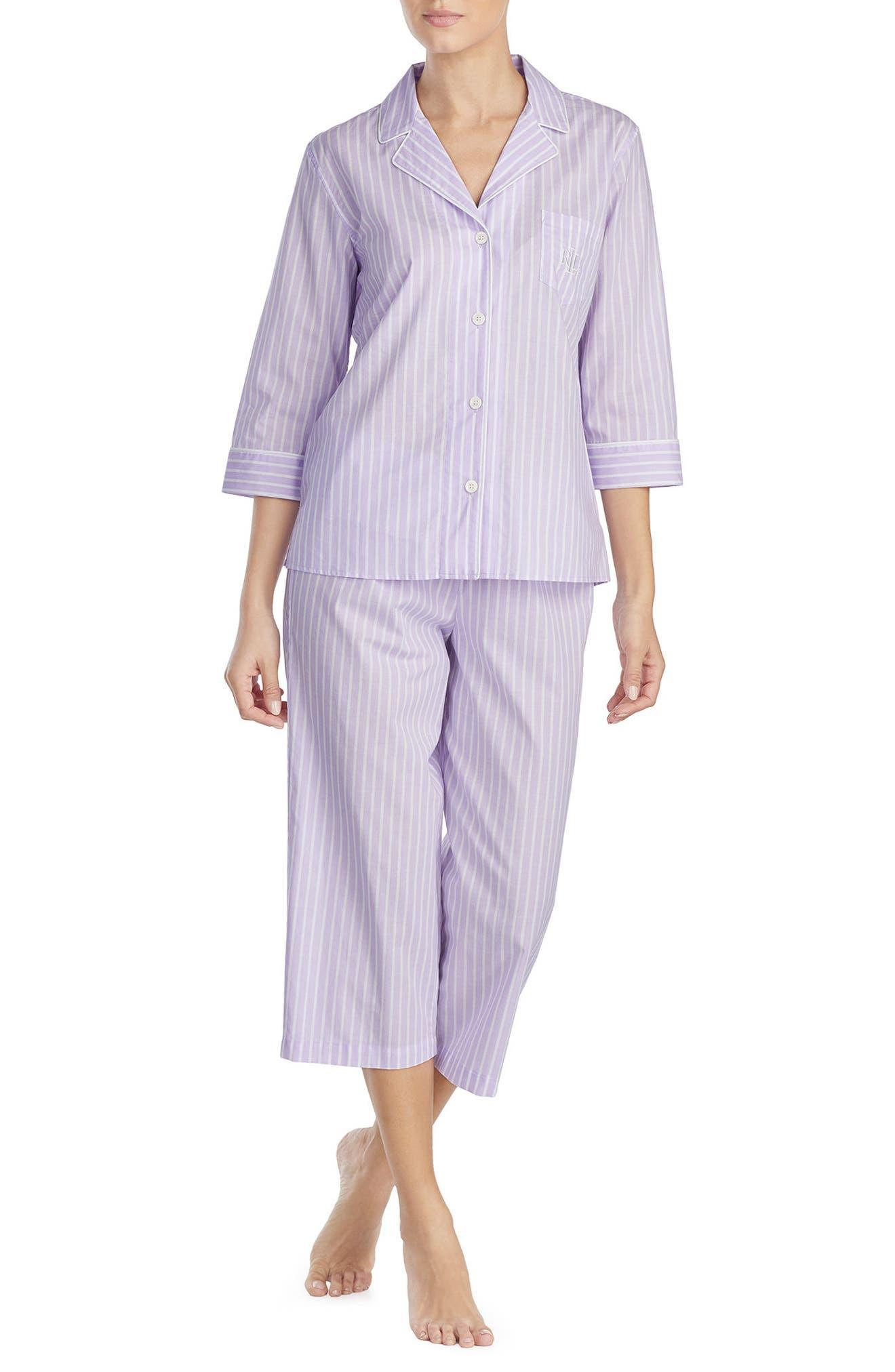 Capri Pajamas,                         Main,                         color, Lilac Stripe