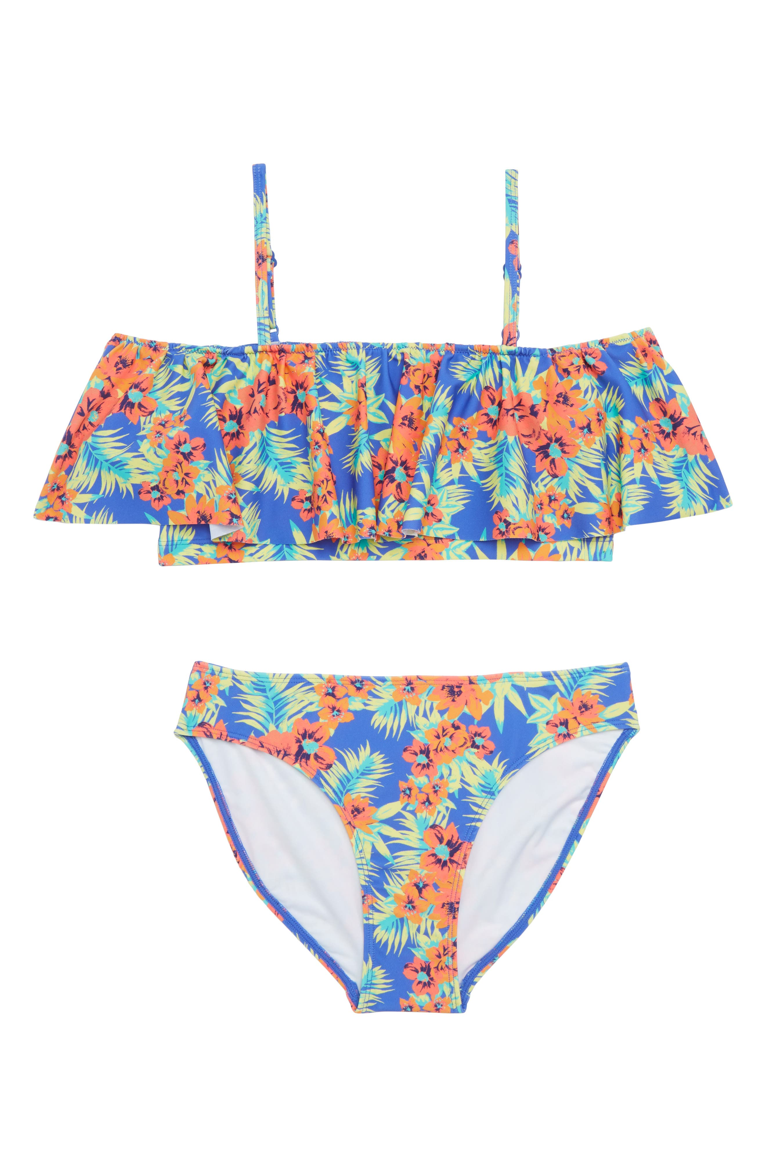 Floral Ruffle Two-Piece Swimsuit,                             Main thumbnail 1, color,                             Blue Amparo Tropical Floral
