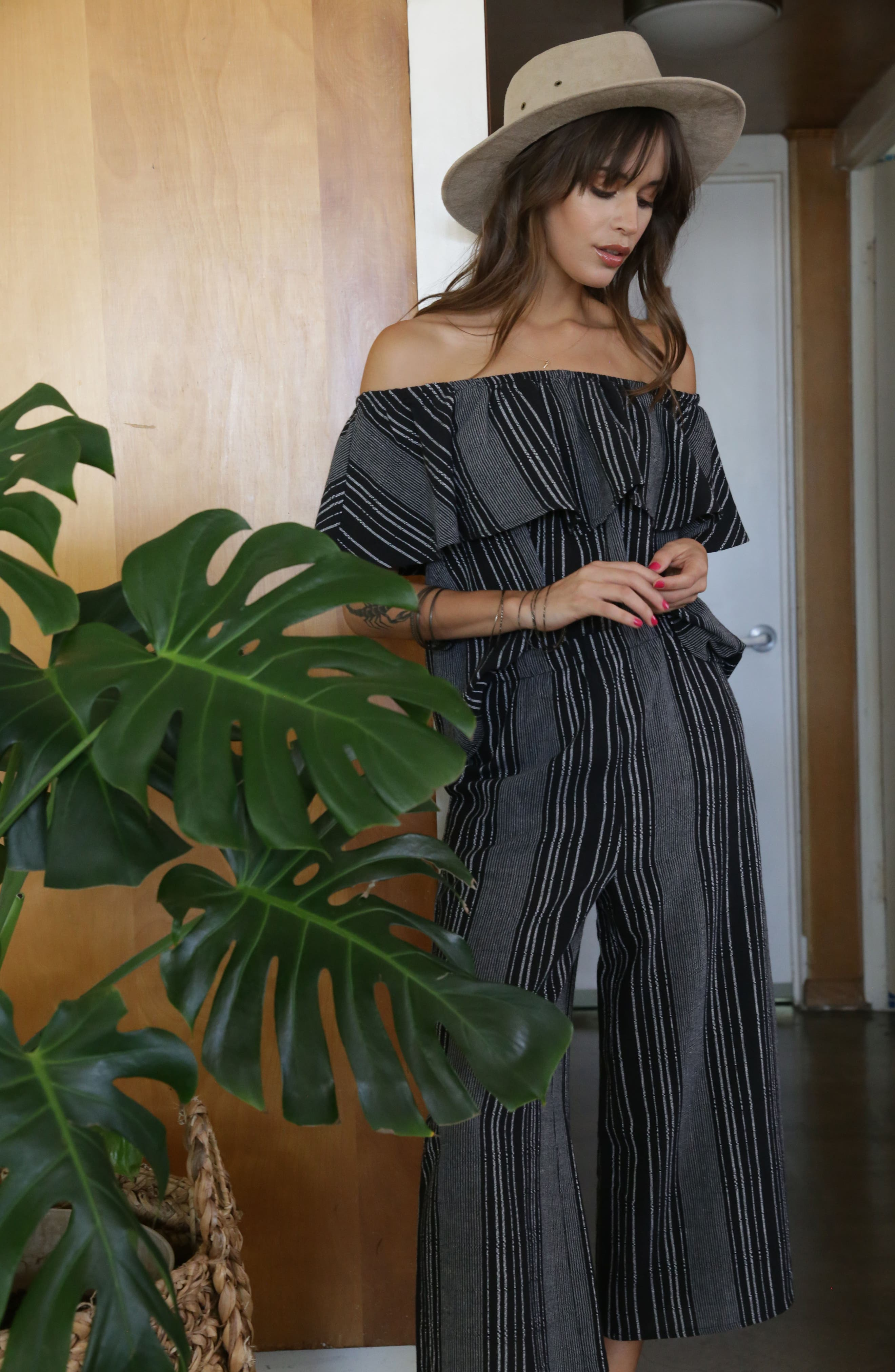 Bella Stripe Crop Pants,                             Alternate thumbnail 2, color,                             Black