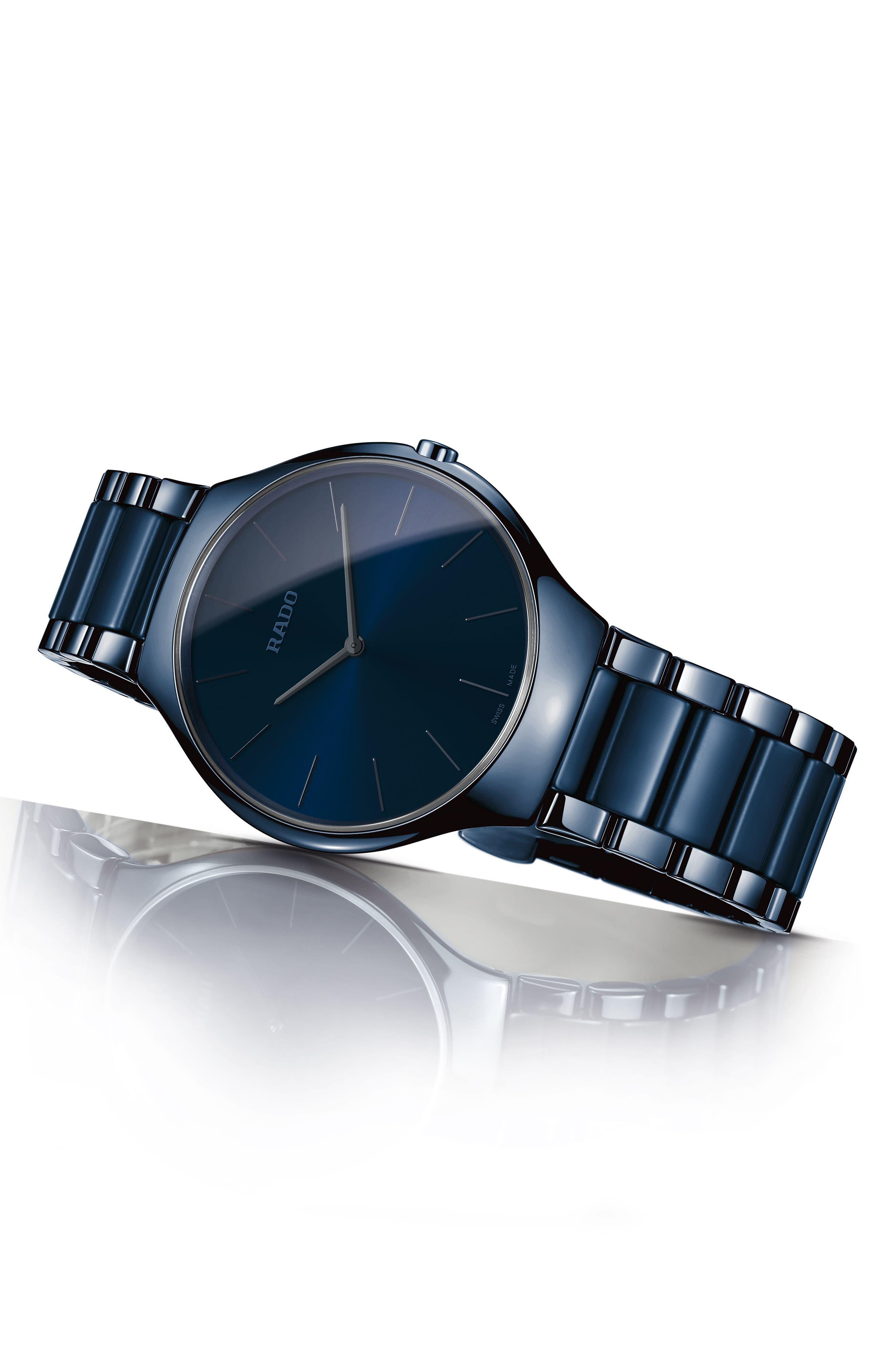 True Thinline Ceramic Bracelet Watch, 39mm,                             Alternate thumbnail 2, color,                             Navy