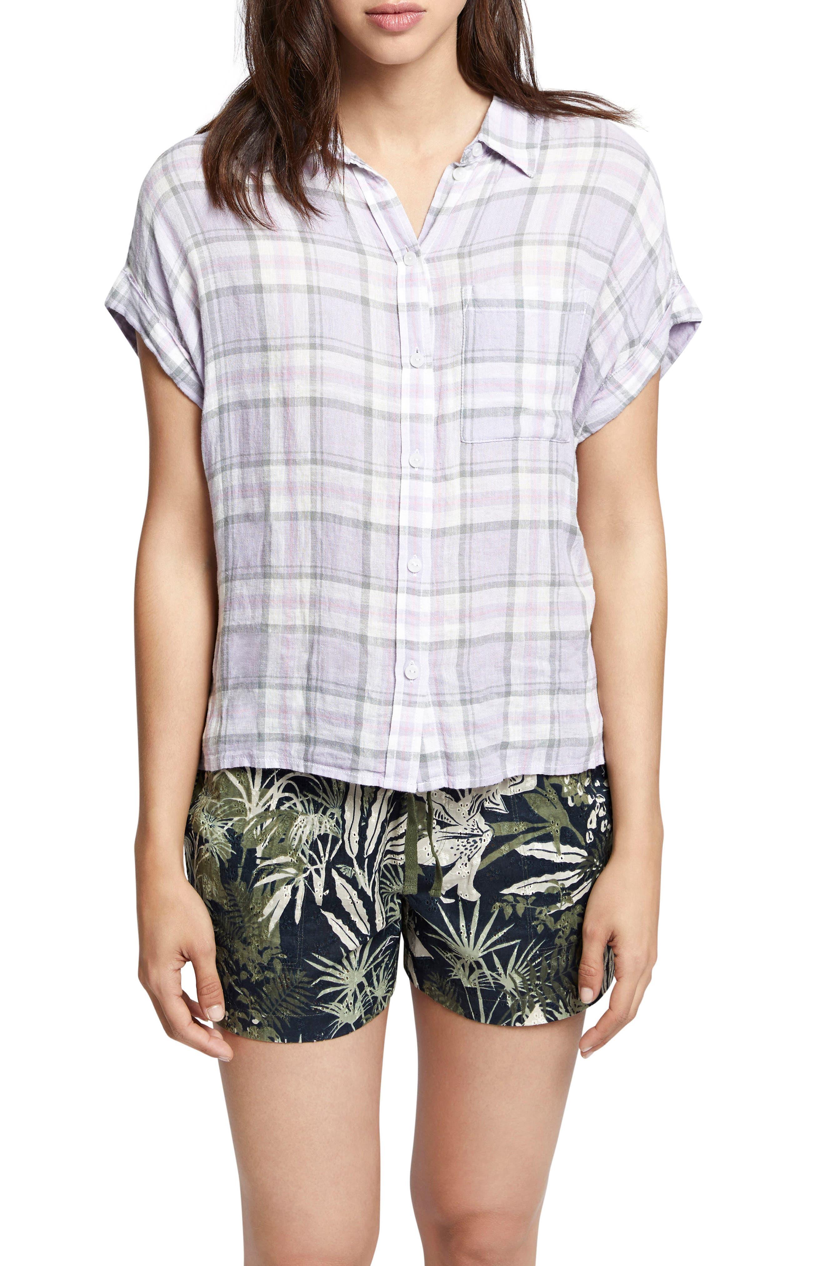 Mod Short Sleeve Boyfriend Shirt,                             Main thumbnail 1, color,                             Orchid Oasis Plaid
