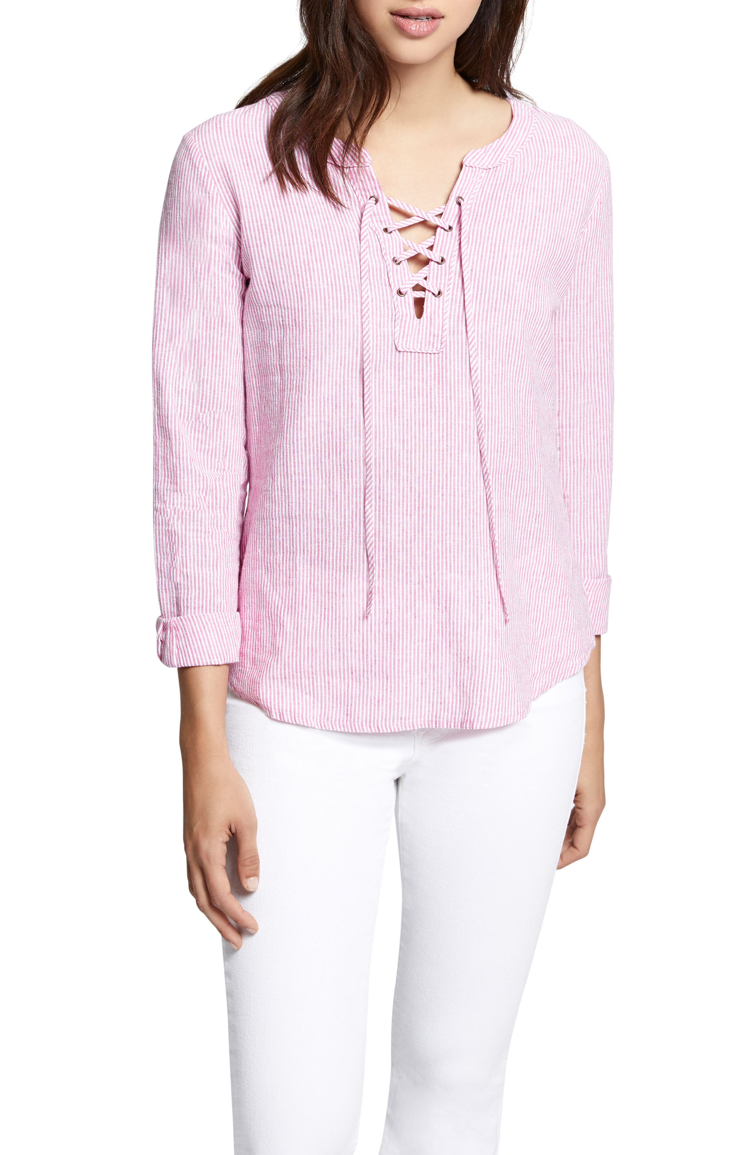 Tommie Lace-Up Stripe Shirt,                         Main,                         color, Wild Cherry Stripe