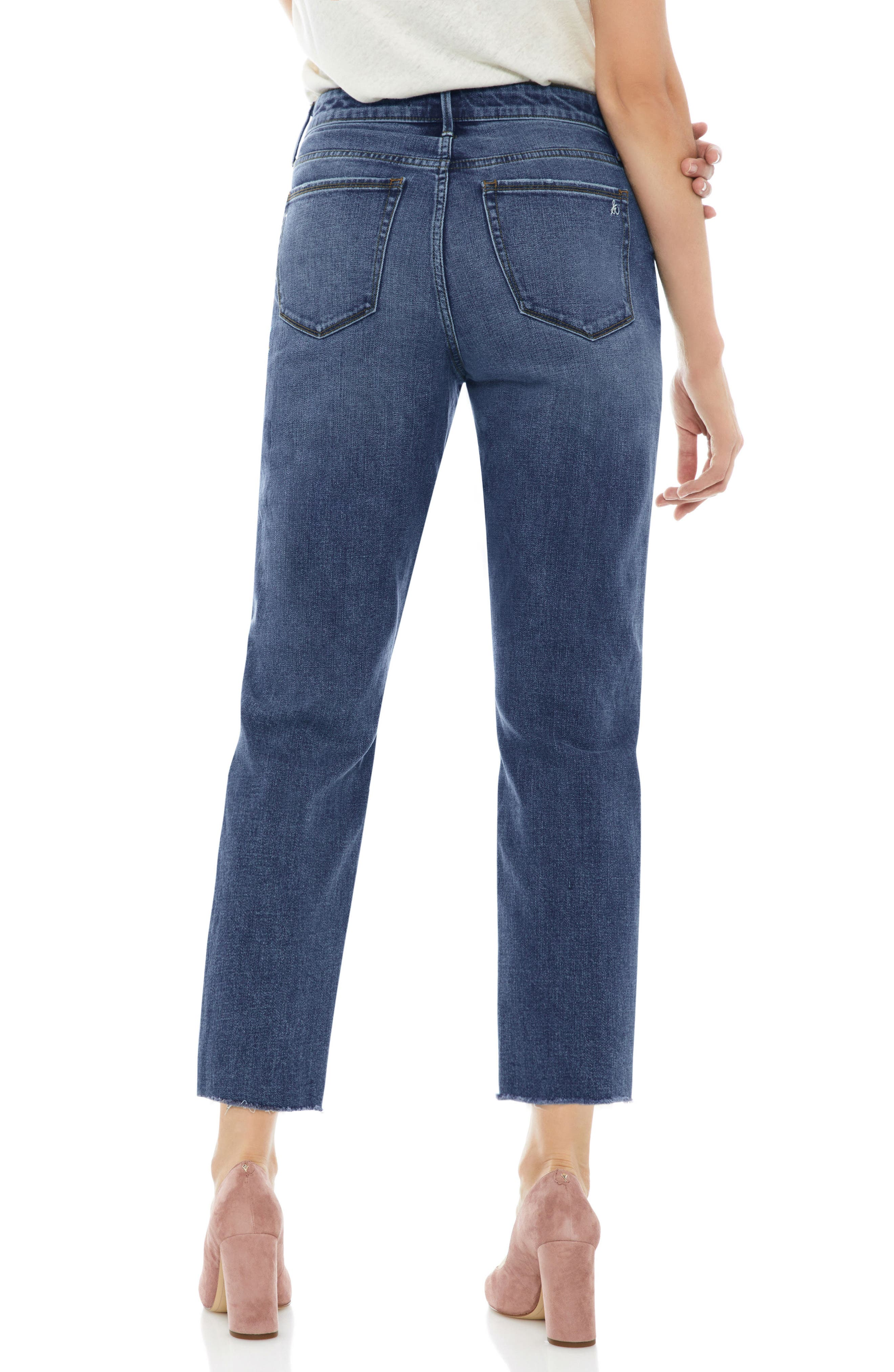 The Mary Jane Floral Accent Step Hem Jeans,                             Alternate thumbnail 2, color,                             Harlin